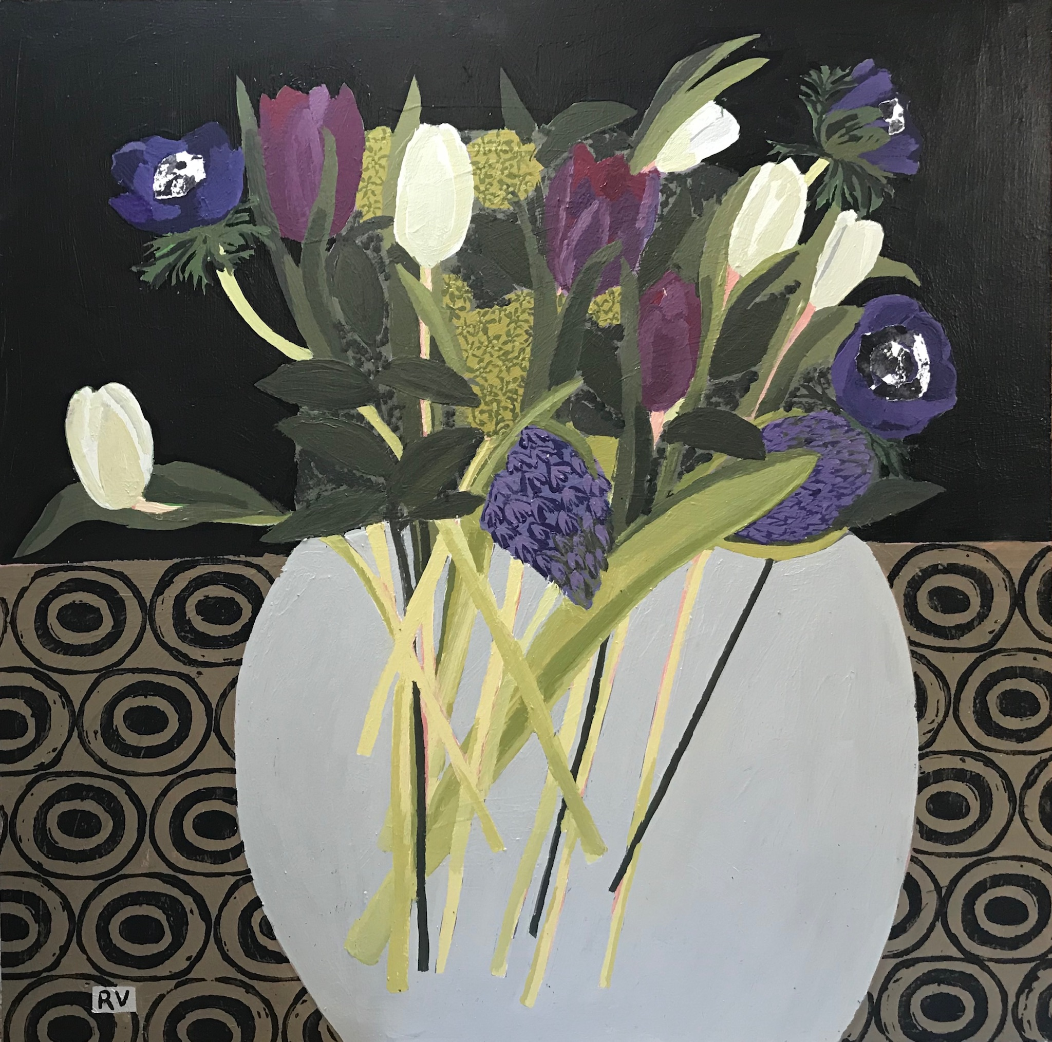 Spring Bouquet. Acrylic and collage on board. 60cm x 60cm. £1250.jpg