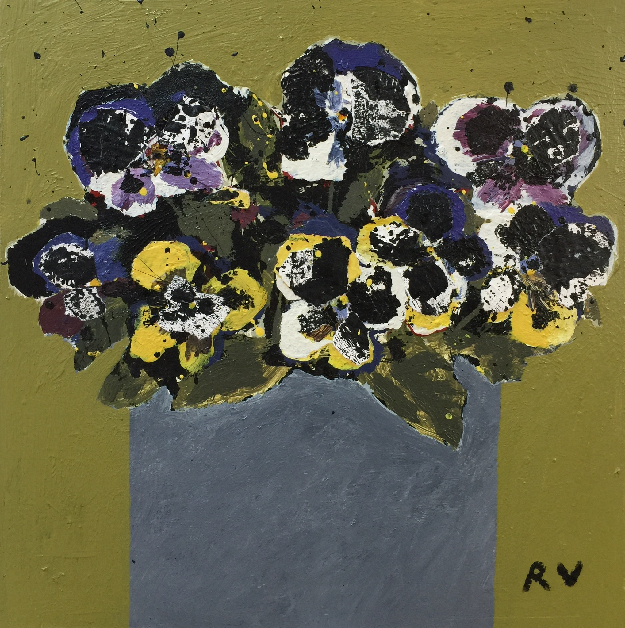 Pot of Pansies. Mixed media on board. 27cm x 27cm. £575.jpg