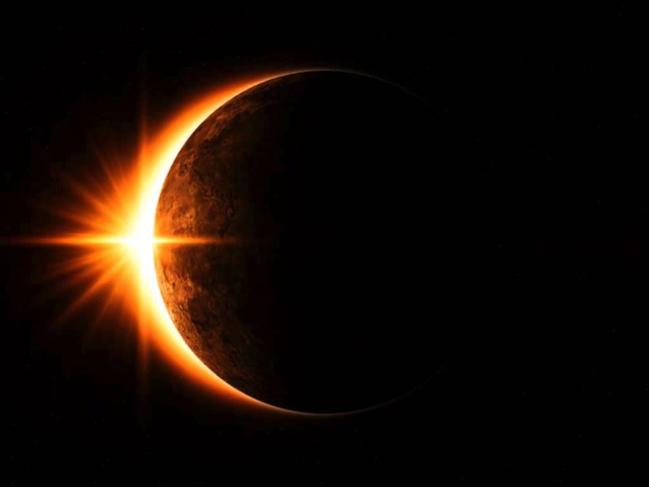 A partial solar eclipse. Image courtesy of NASA.