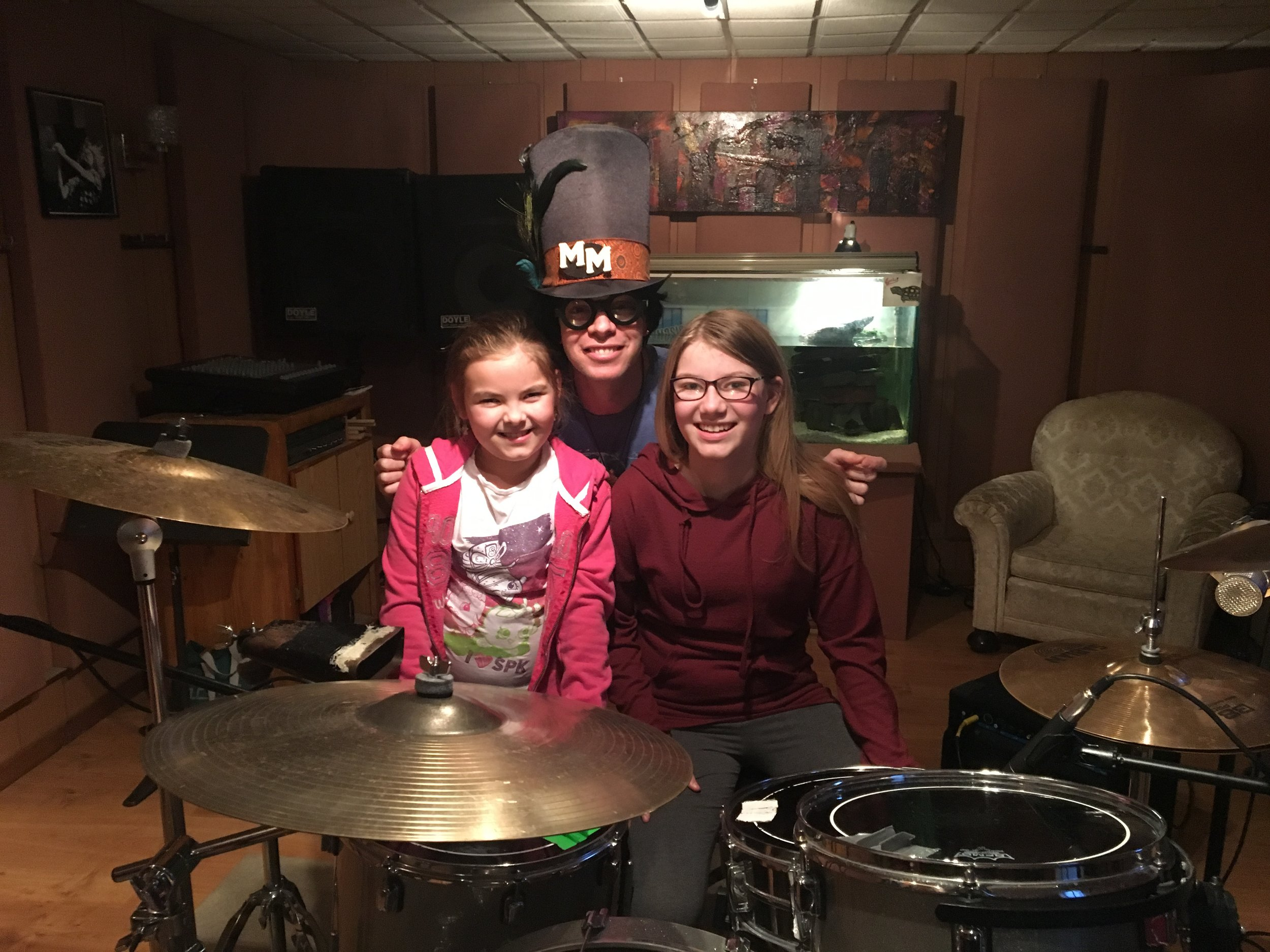Rachel and Mckenna with Marky Monday at Pezmosis Music Productions.