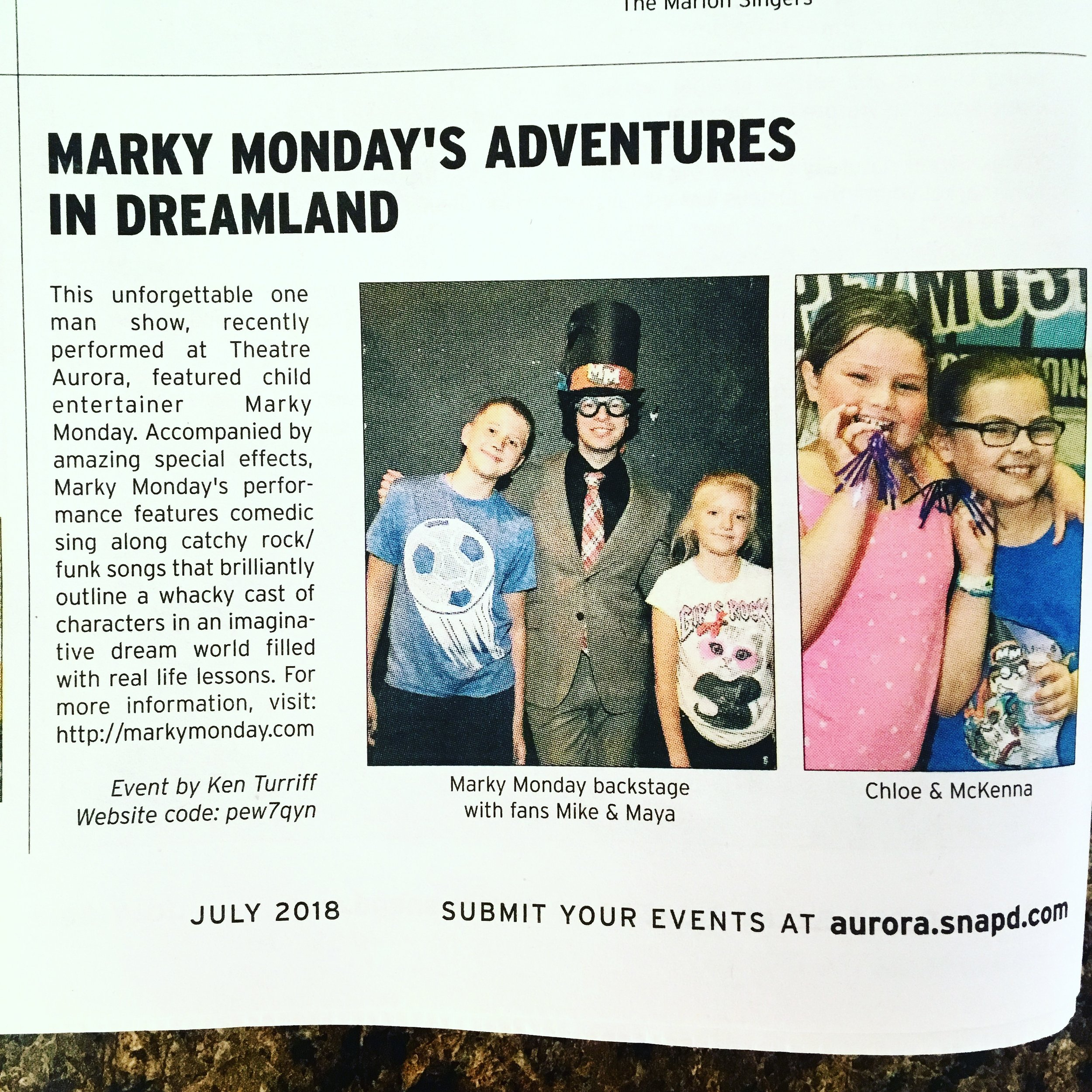 Marky Monday's Adventures in Dreamland in the July 2018 issue of Aurora Snap'd