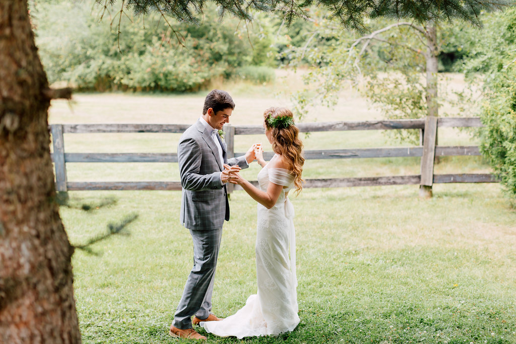 first look modern bride guelph outdoor wedding hayley paige