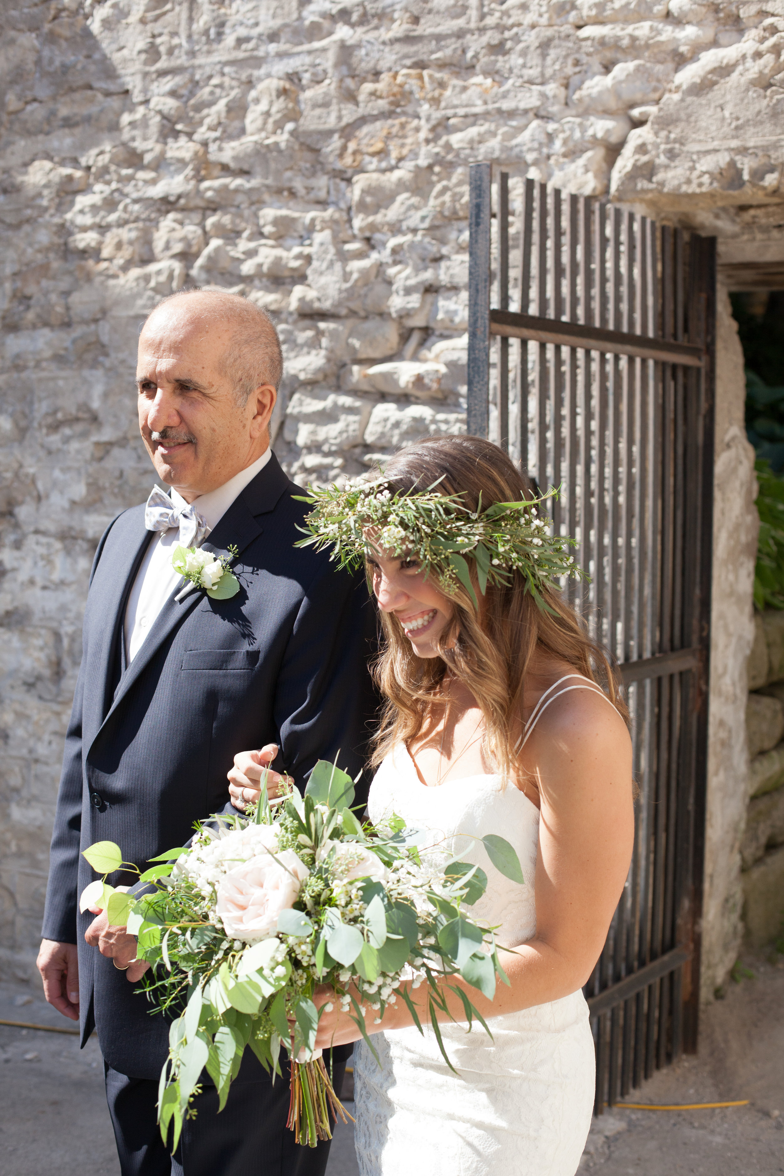 father daughter goldie mill hayley paige walking down the aisle floral crown