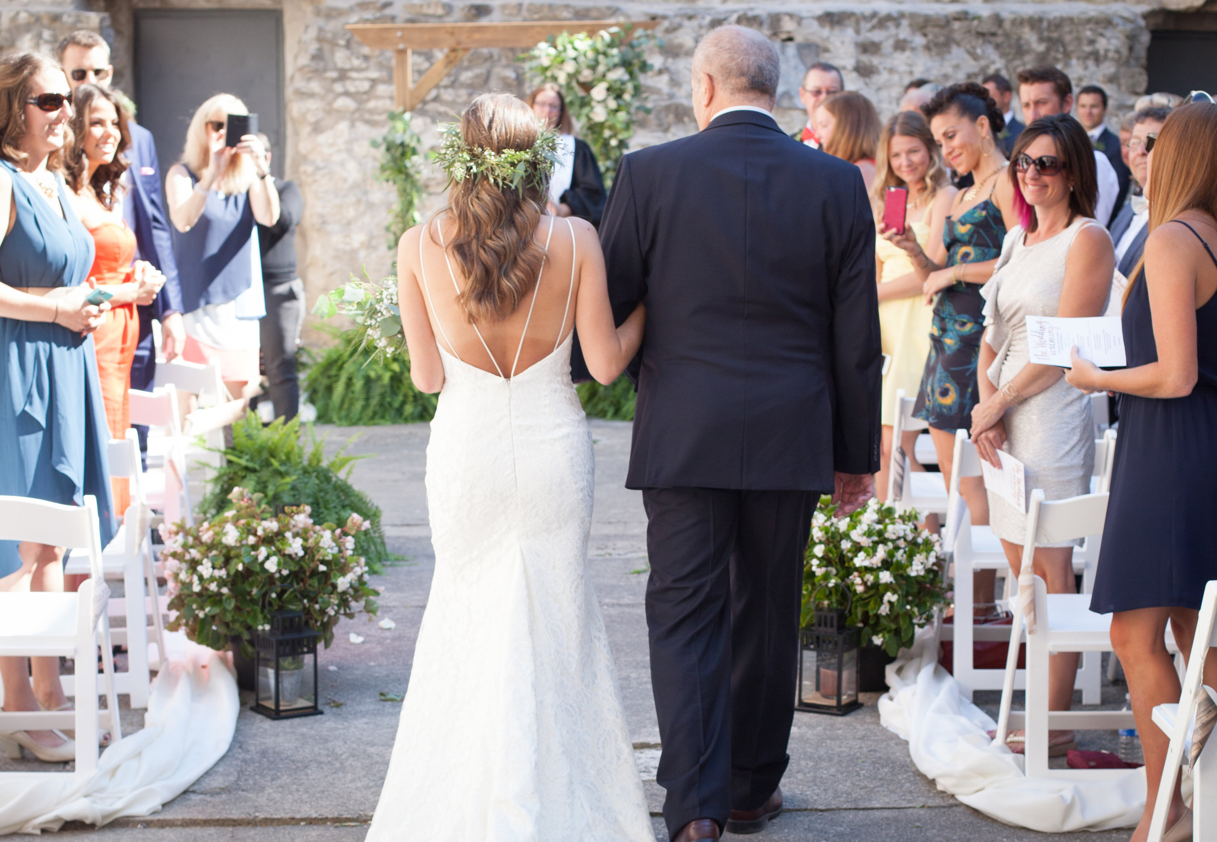 guelph bride hayley paige goldie mill wedding dress aisle walk boho bride