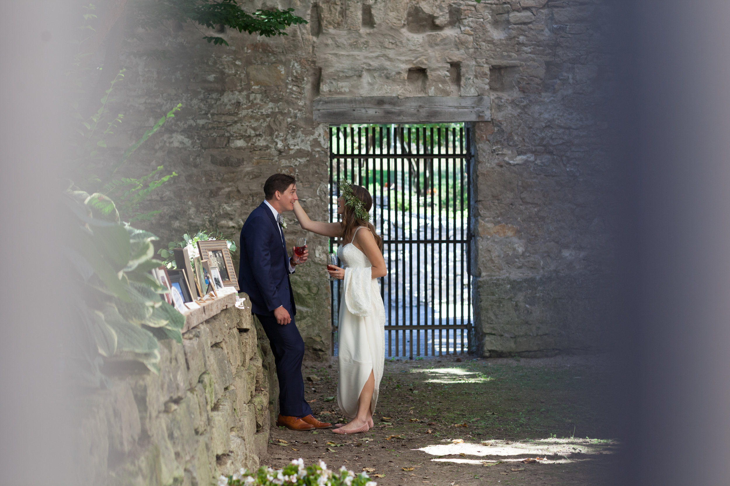 first look bride groom goldie mill guelph husband wife