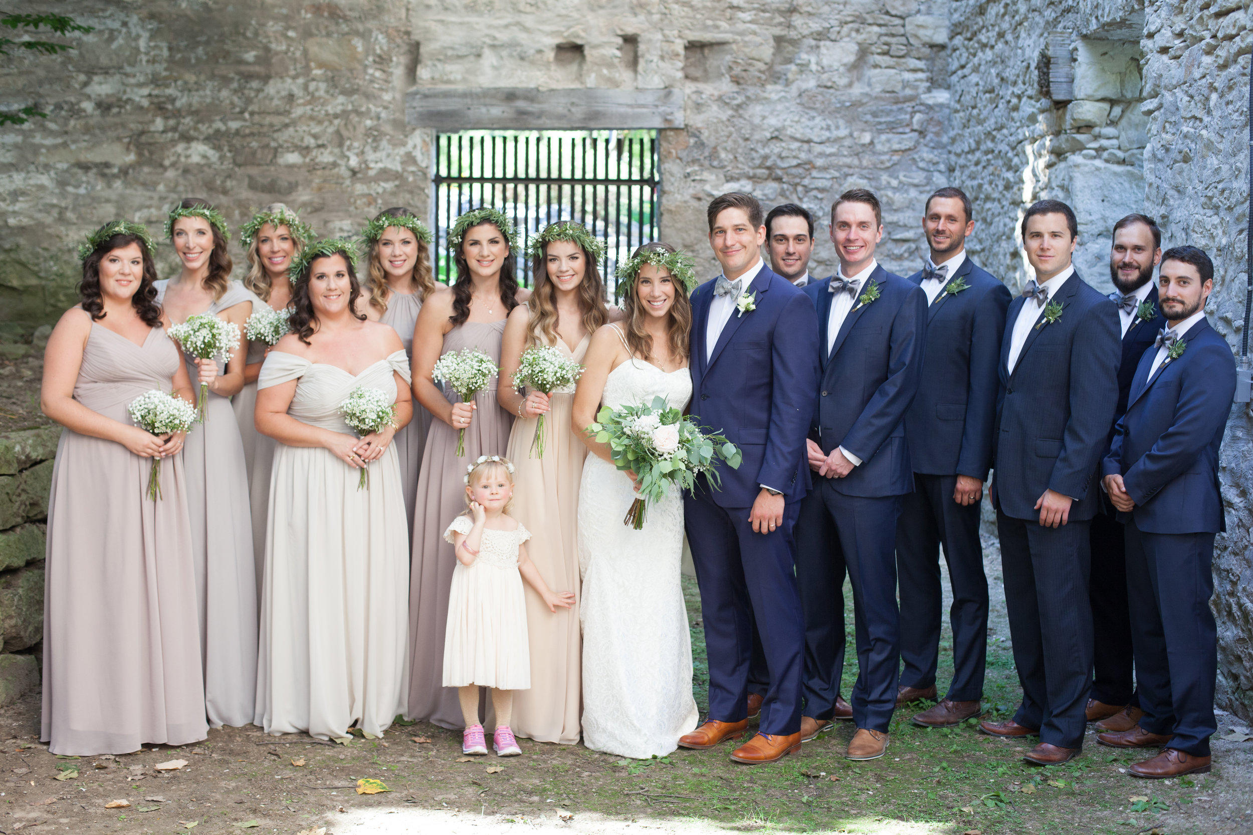 wedding party boho bride guelph groom goldie mill outdoor wedding