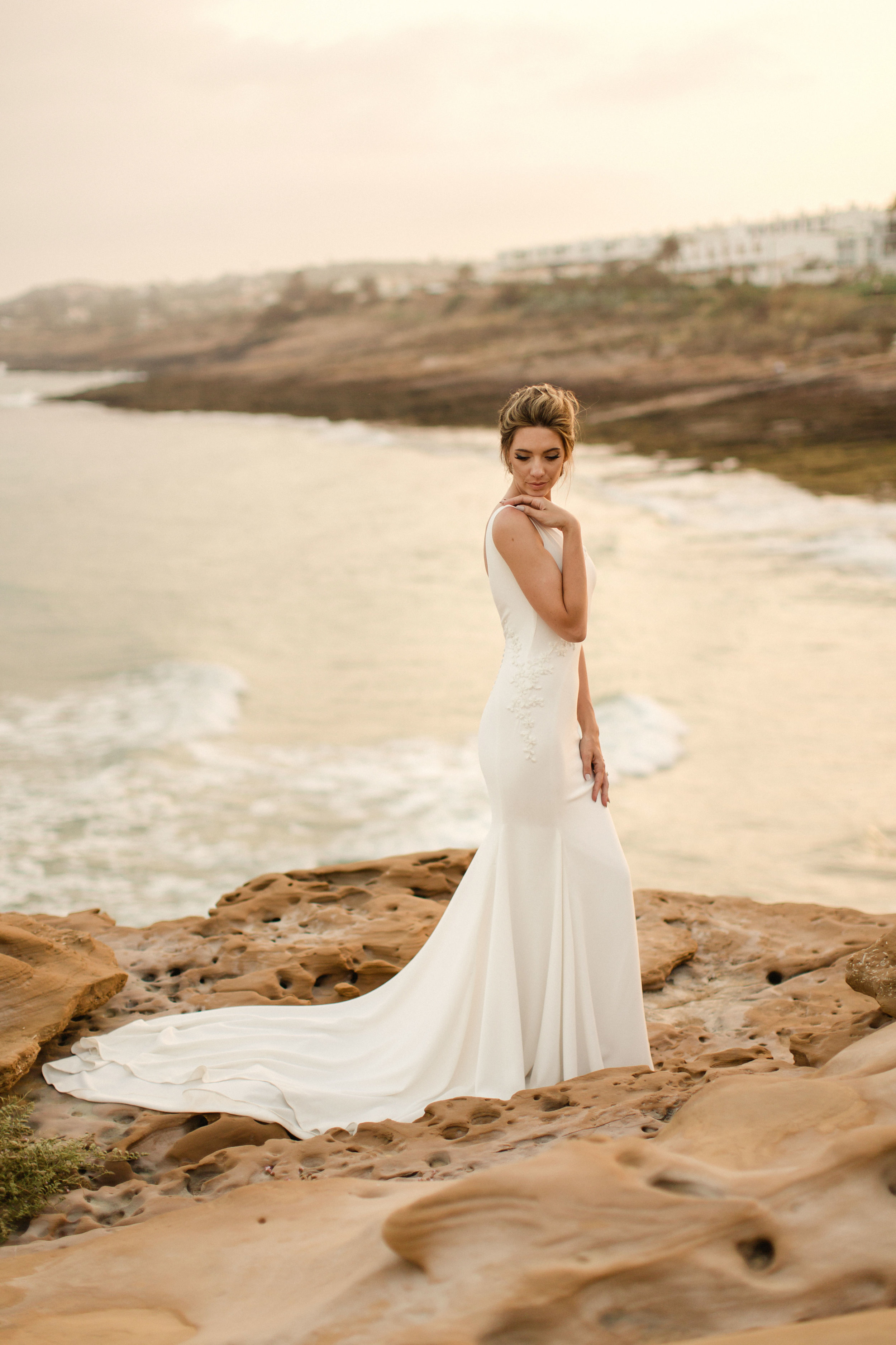 pronovias olinda real bride portugal ocean front