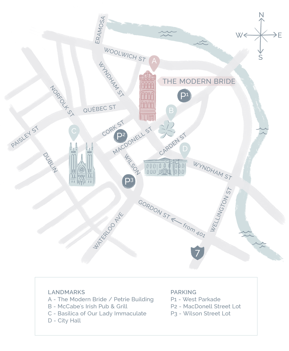 Map of Downtown Guelph for The Modern Bride