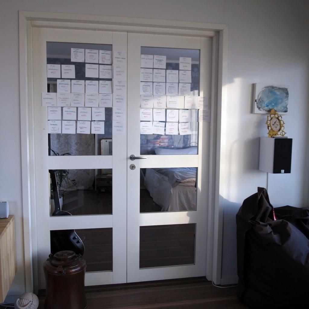 Muutaman kuukauden ajan kirjan hahmotelma sijaitsi makuuhuoneen ovessa. CSI-meininki!