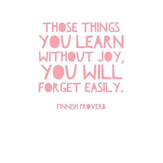 Well my girl Betsy is killing it with her new ig account @homeschoolingwiththeclassics Have you seen it? It's hilarious! But she did make me think twice about posting this Finnish proverb on learning. I guess it's a home school cliche or something. 🙄. Whatever Betsy. I still love it. Because joy is one of my love languages. So I want you to remember this cliche Finnish proverb as you're starting your new school year. And don't forget to add JOY to your lesson plans and to your own heart. Because the perfect curriculum or planned out school year, won't go very far with a stressed out, overwhelmed mom. Home schooling is hard. There's no denying it. But on the hardest of days, you don't have to slog through just so you can put a check mark in the boxes of your lesson plan book. You have to freedom to teach with joy!! So plan for it. Add in some of the things that will bring joy to your kids' learning and to your teaching.  You will all be better for it. I promise. Be gentle with yourself and them. Teach with joy that they may learn with joy. Happy back to school friends! You've got this! #maandpamodernhomeschool