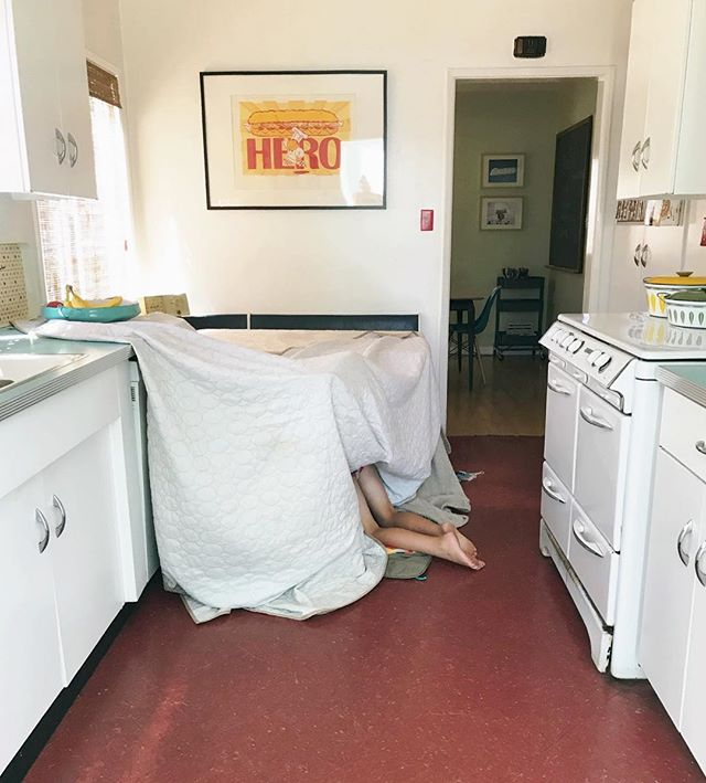 Every time I turn around he's making another fort.  Future architect? Installation artist? Or just a very messy husband?  I pray for his wife already. 🙏❤️ #ohdavyboy #maandpamodernhome (And don't worry. He's not naked. Just in his undies, of course.😉)