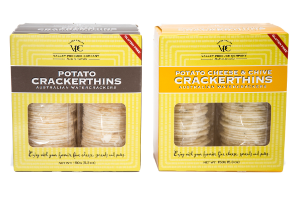 A collection of crackers to pair with gluten free gourmet cheeses