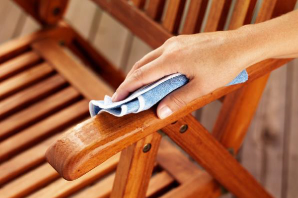 Timber furniture will lasts a long time if properly maintained.  Plastic or metal setting will benefit from a hose-down with a pressure hose or just a wipe down with soap and water.