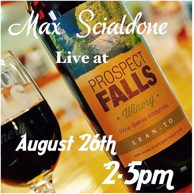 "Max Scialdone will be here to ""Wine"" down the Weekend. Join us Sunday August 26th from 2-5 for some great music, wine and slushy's. Only a short half hour drive from Herkimer, Utica & Rome."