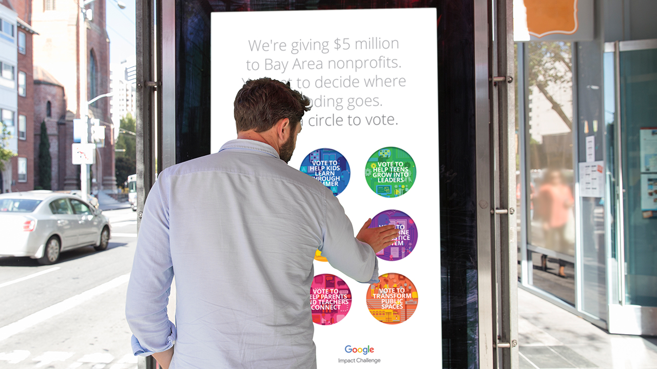 """One of 30+ digital bus shelter voting stations. Votes were tallied and digitally sent to a server. Only one vote could be cast every few minutes as to avoid fraud or """"over voting""""."""