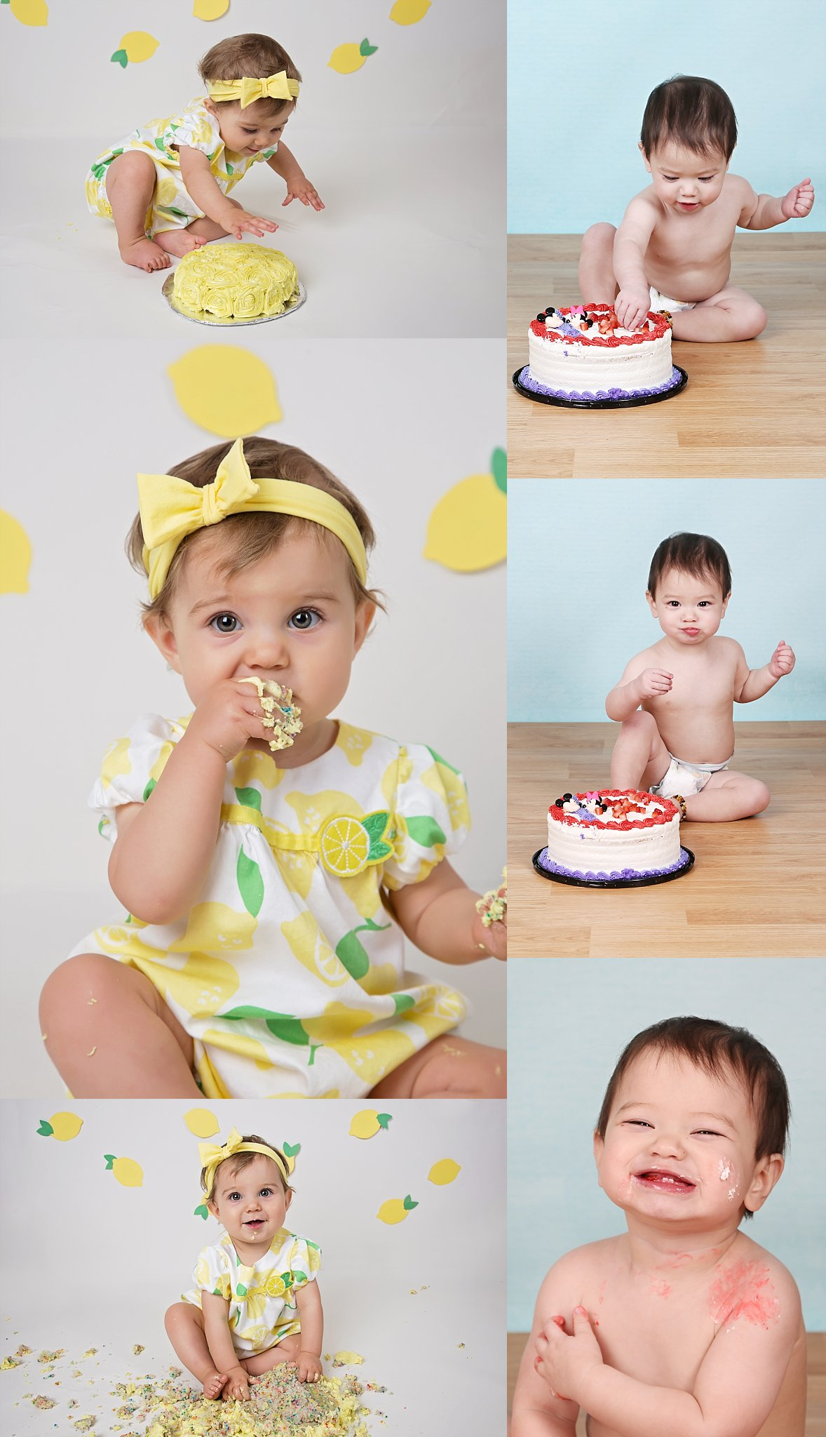 Lemon themed cake smash pictures and baby boy blue cake smash photography in Calgary Alberta by photographer at Windrush Images