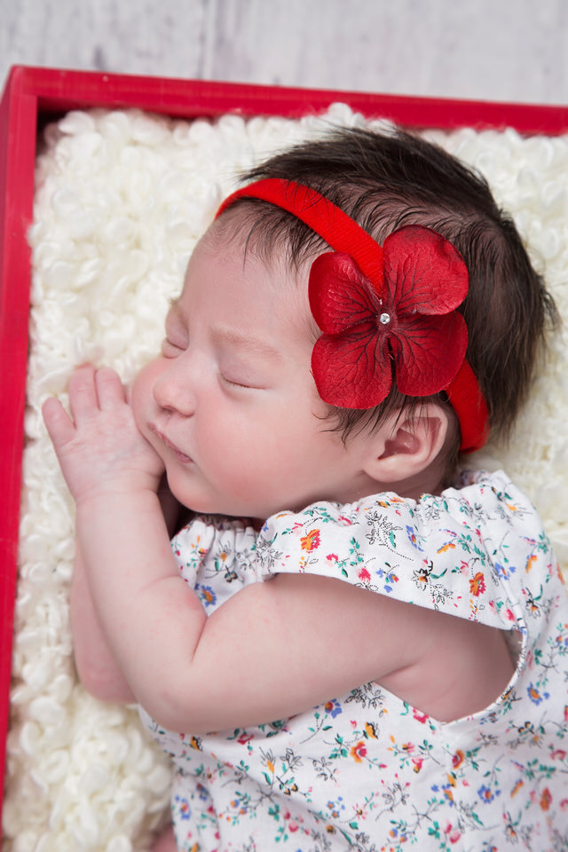newborn-photographer-Calgary-close-up-of-baby-girl's-face-with-red-bow-at-Christmas.jpg