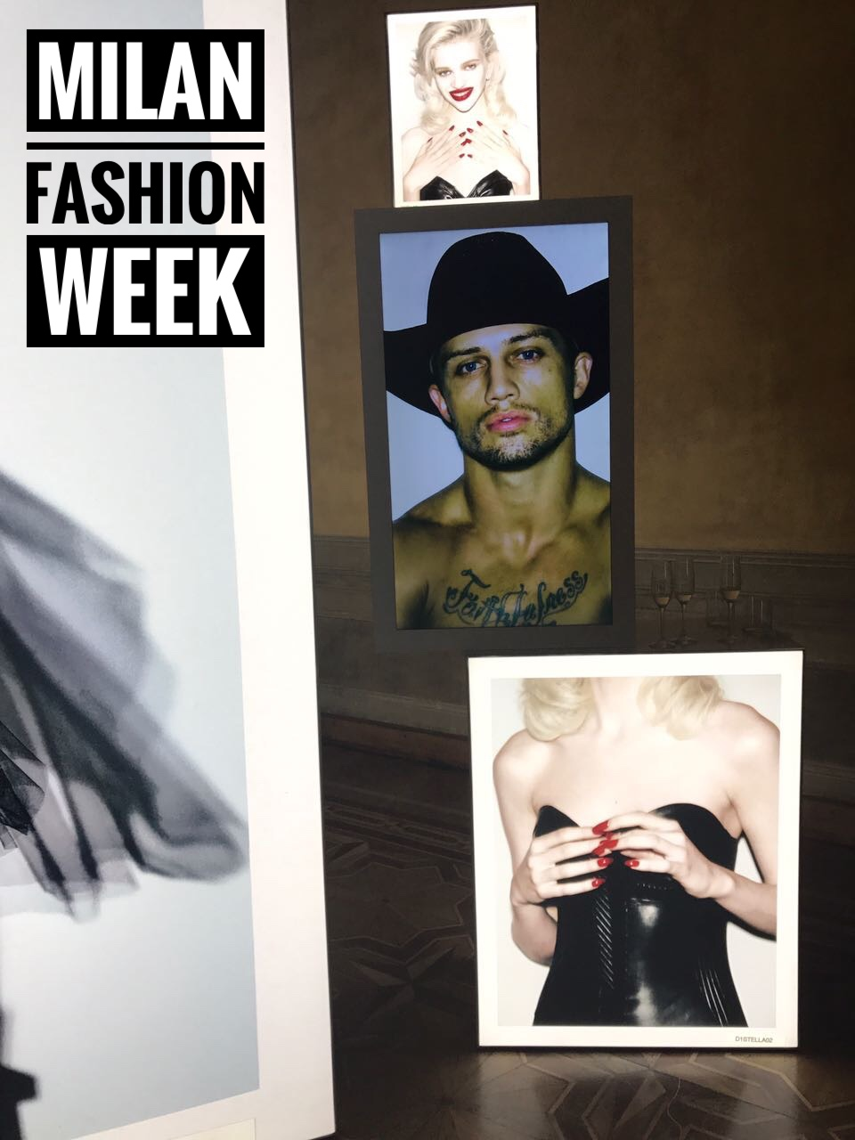 Steven Klein exhibition at the Vogue Italia Party on Day 2 of MFW