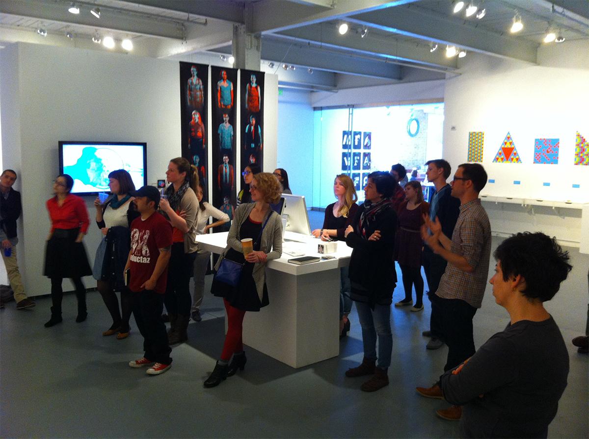 Brian Pelsoh presents his work to Keetra Dean Dixon