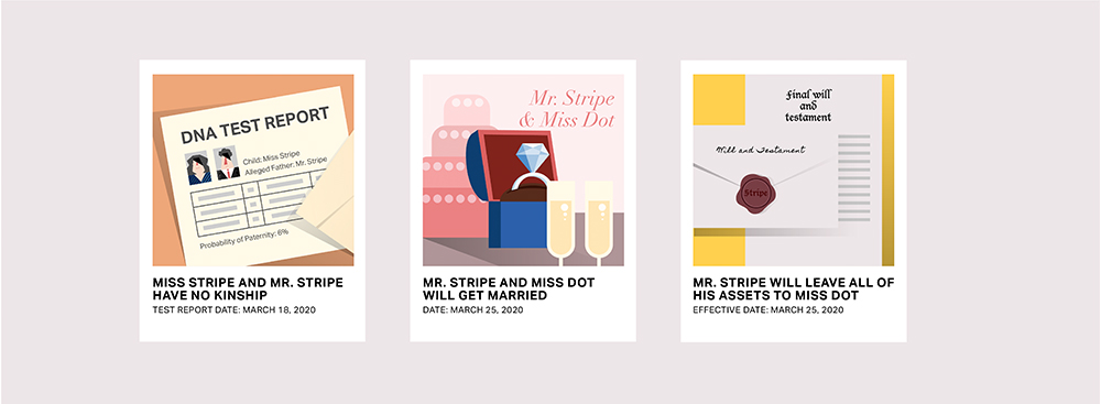 Evidence cards for Miss Stripe