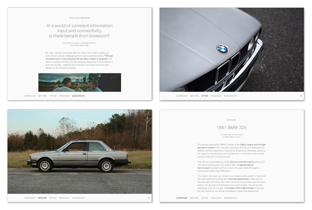 A website accompanied the exhibition space, displaying in depth photos and the  Drive Slow  Manifesto where the ideals of automotive designs are explained in relation to the outline on the wall.