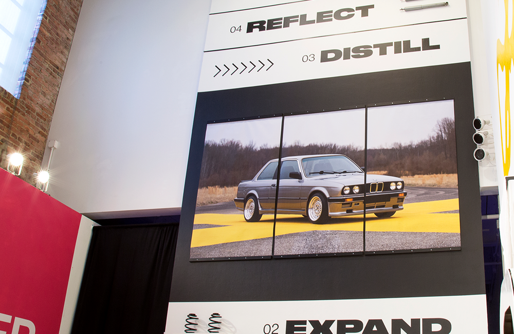 Three large banners were used to create the one image, measuring 72 inches tall by 120 inches wide.