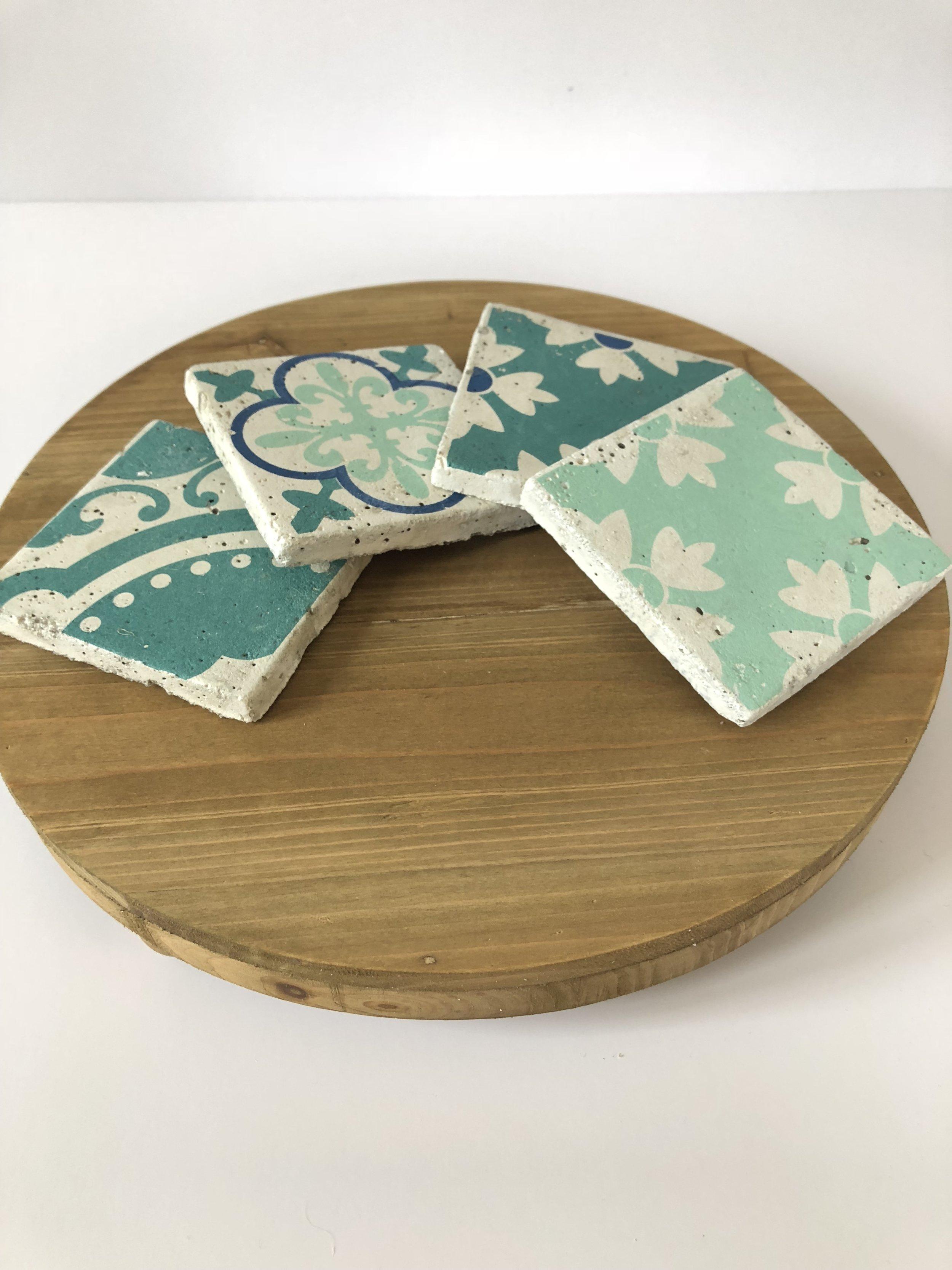 Aqua Cement Tile Coasters