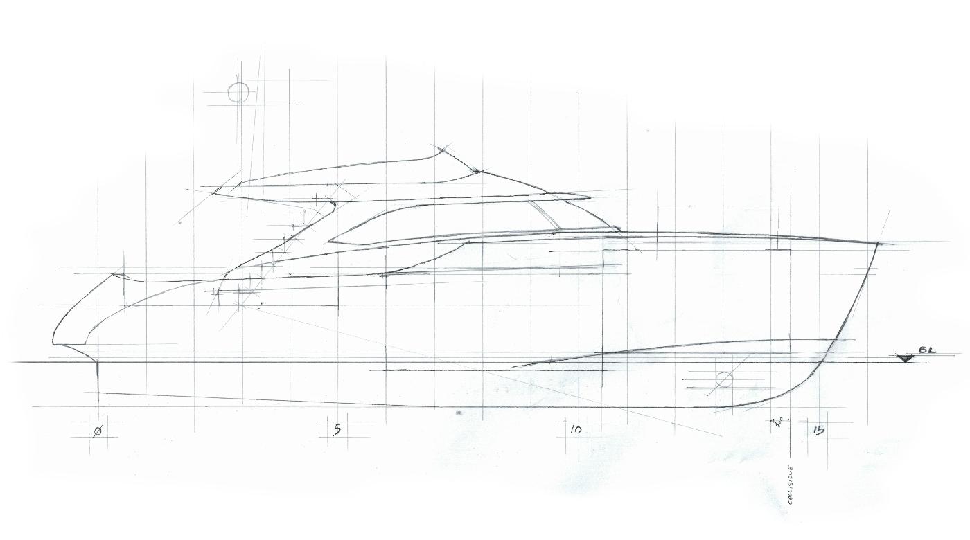 Istante 0 yacht-general arrangement-profile-sketch architect-carignani-design-concept-luxury-boat-motor.png