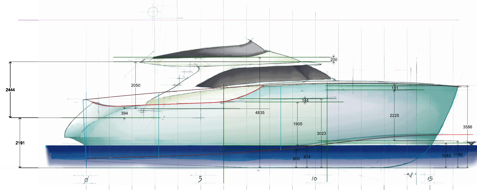 Istante 1 yacht-general arrangement-profile-sketch architect-carignani-design-concept-luxury-boat-motor.png