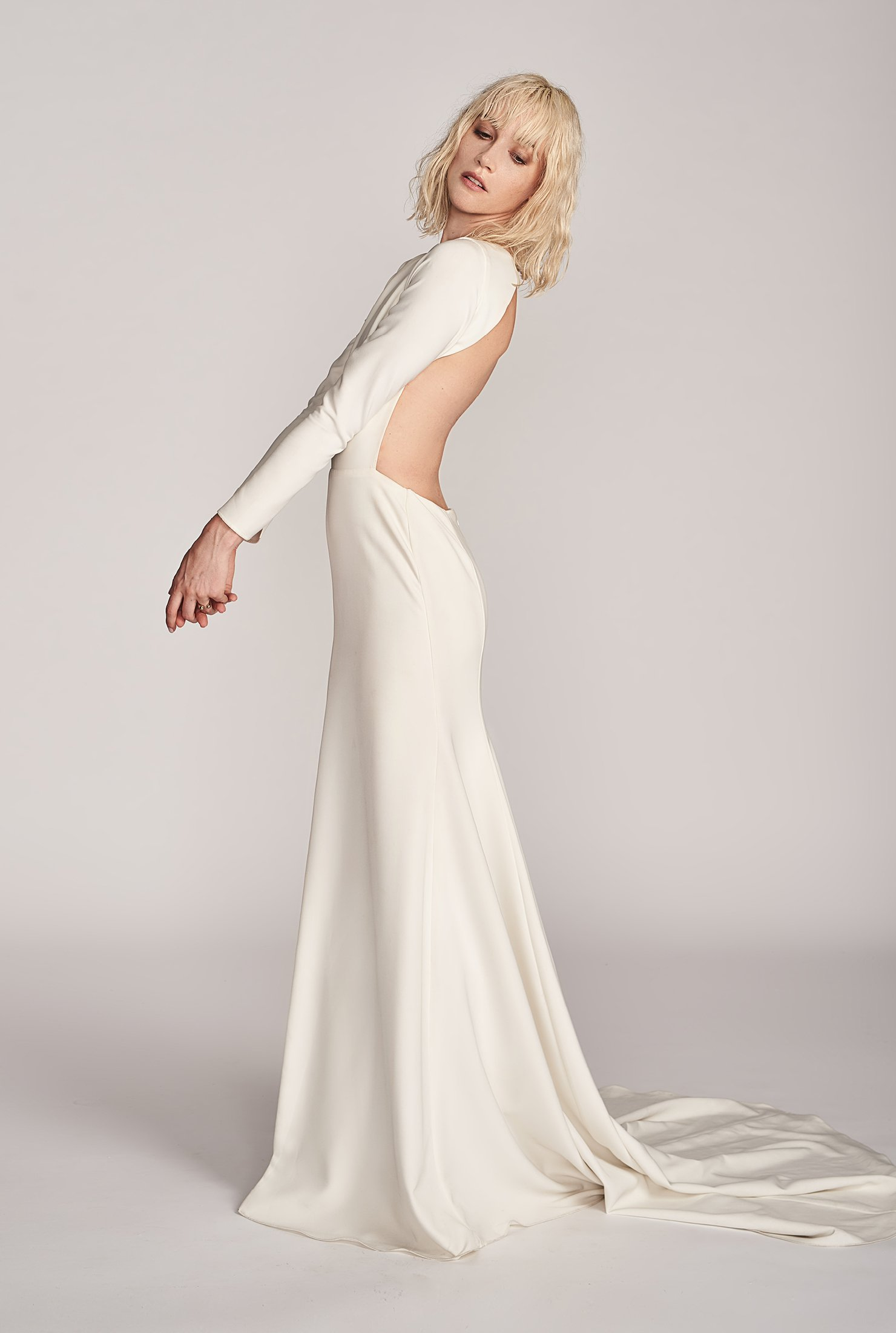 Sarah Seven Sunsets Forever Gown, $4200,   The Bridal Atelier  . Open Ring, from $30,   & Other Stories  .