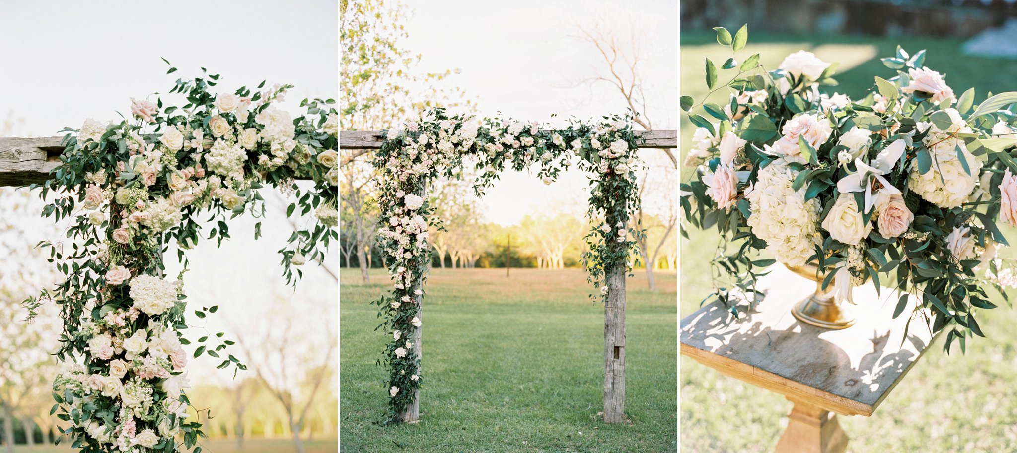 Laura and Connor's outdoor wedding (above) was elegant and classy, you can see more of this beautiful day  here . Florals:  Maxit Flower Design  | Venue: Chandelier Grove