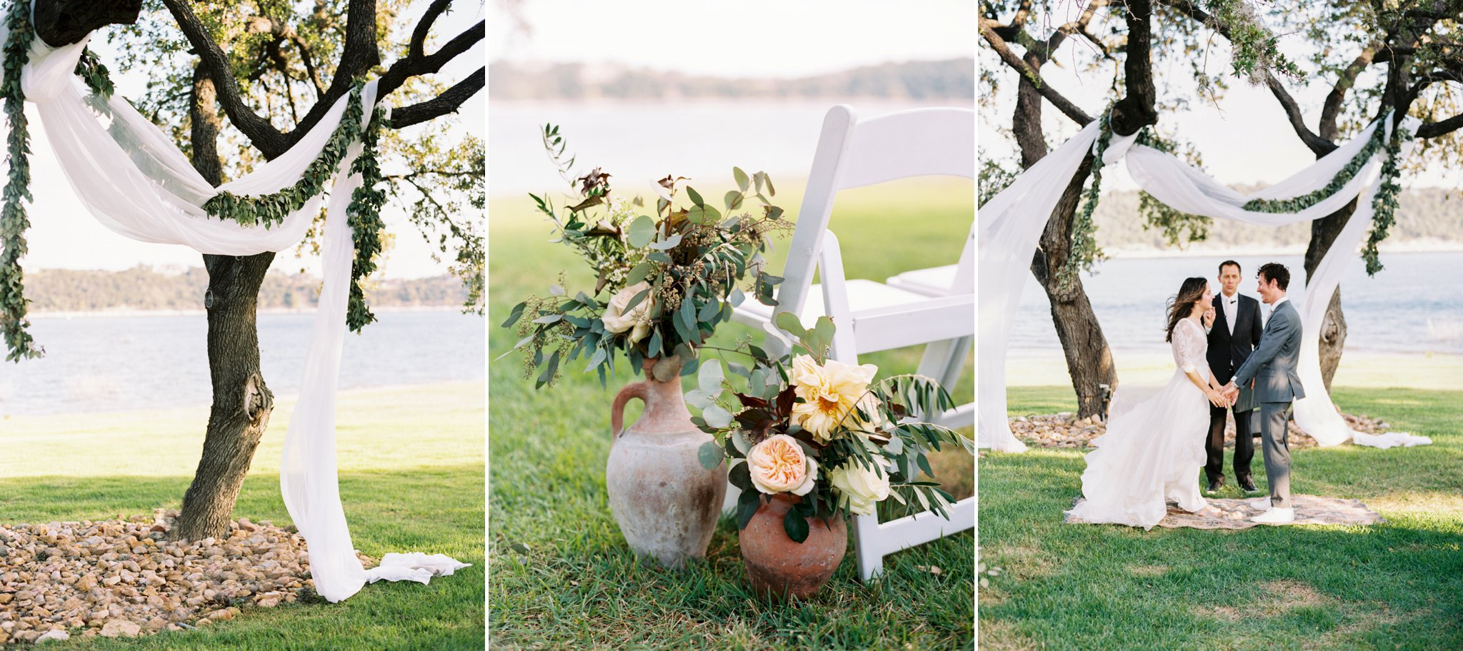 Kalie and Steven had 'minimal romantic' in mind as they designed their lakeside wedding. It felt so fitting to have drapery and greenery blowing in the wind - also, those terra cotta pots were perfect You can see more of this wedding  here .. Florals:  Earl Grey Floral  | Pottery:  Birch and Brass Rentals