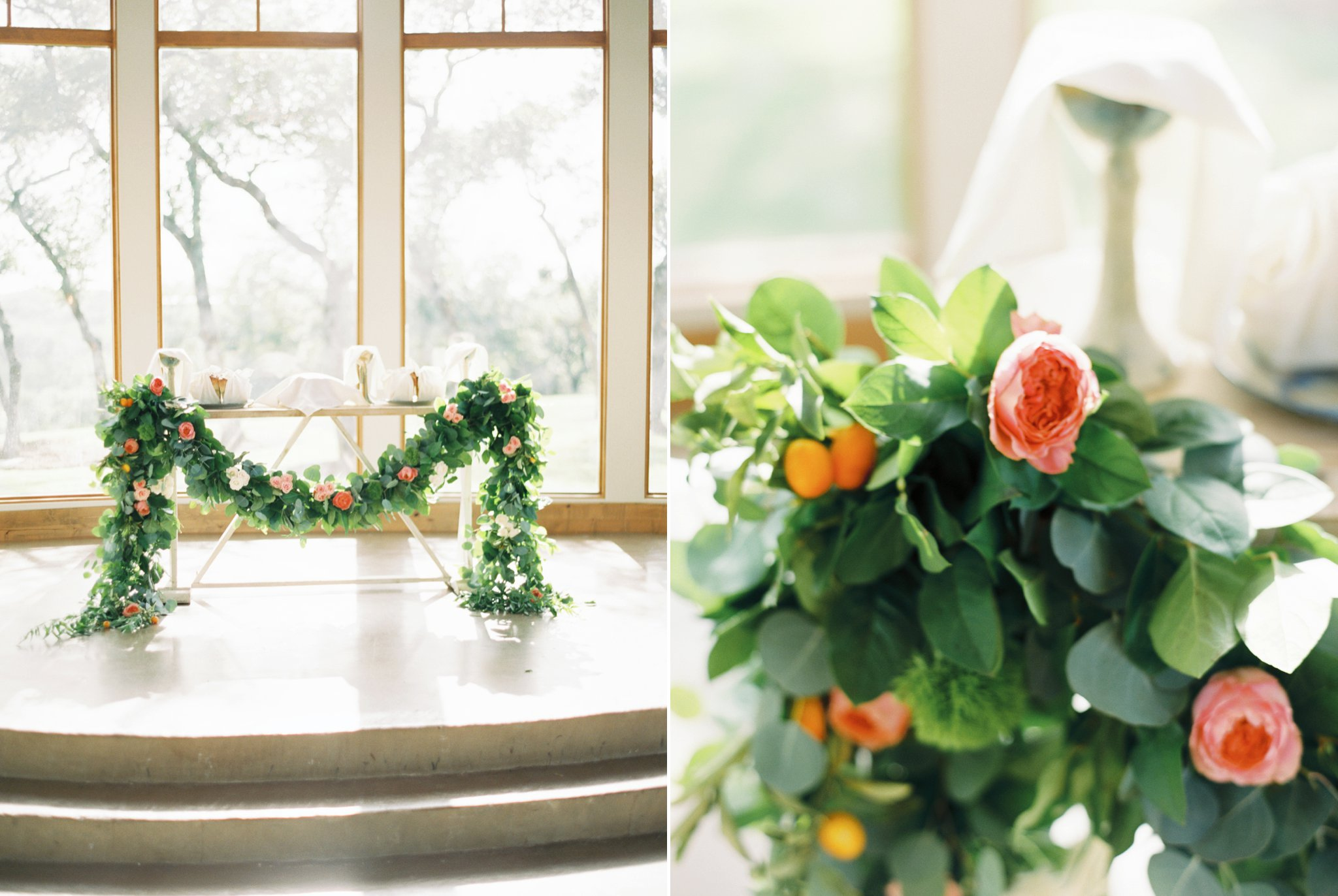 Katie and Cameron still wanted flowers to frame the ceremony, but instead used them to decorate the communion table. You can see more of this wedding  here . Floral Design:  The Heirloom Table