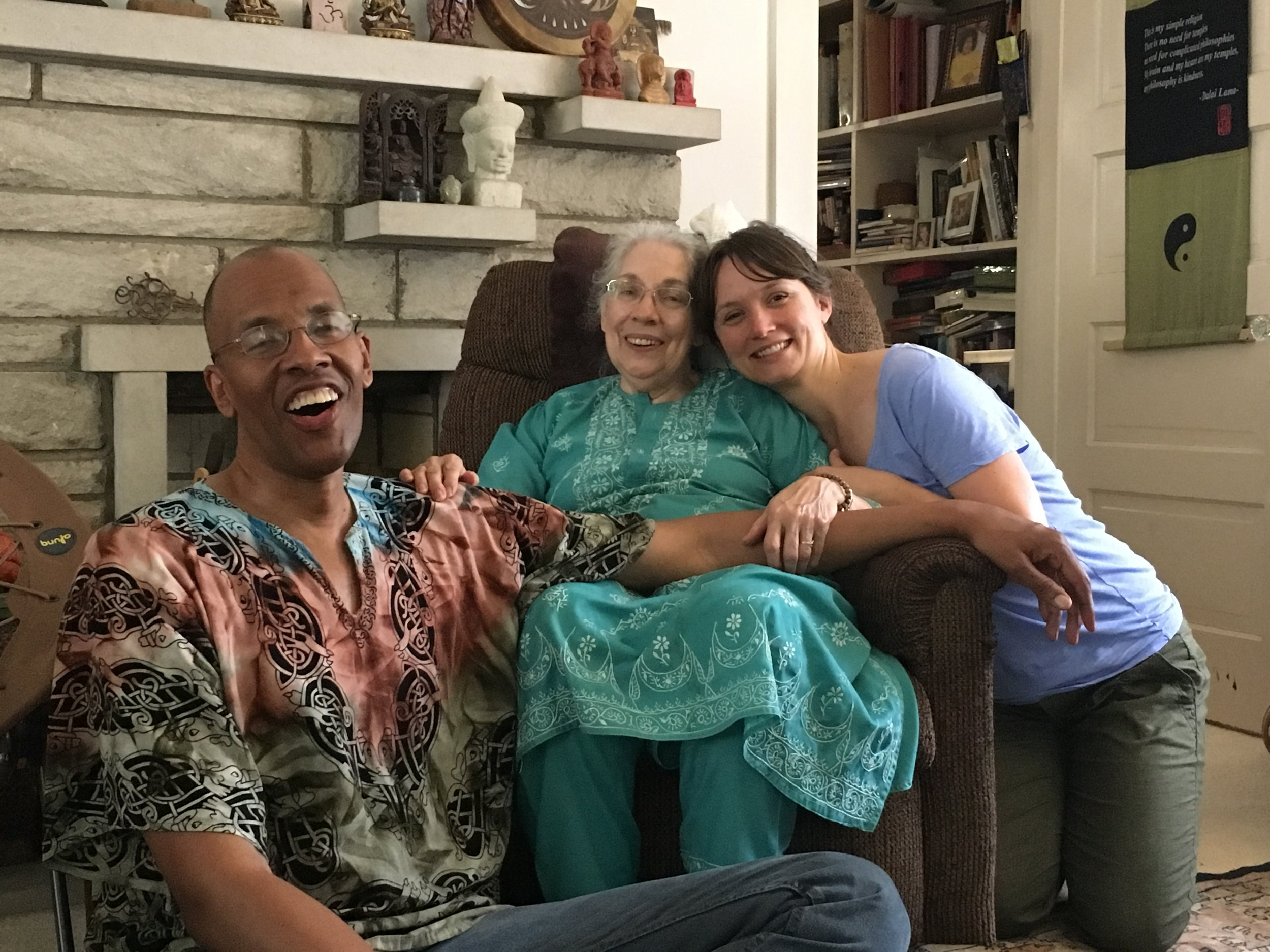 Tricia with her teacher, Dr. Rebecca Martin (center) and fellow student, Harry Pickens (left).