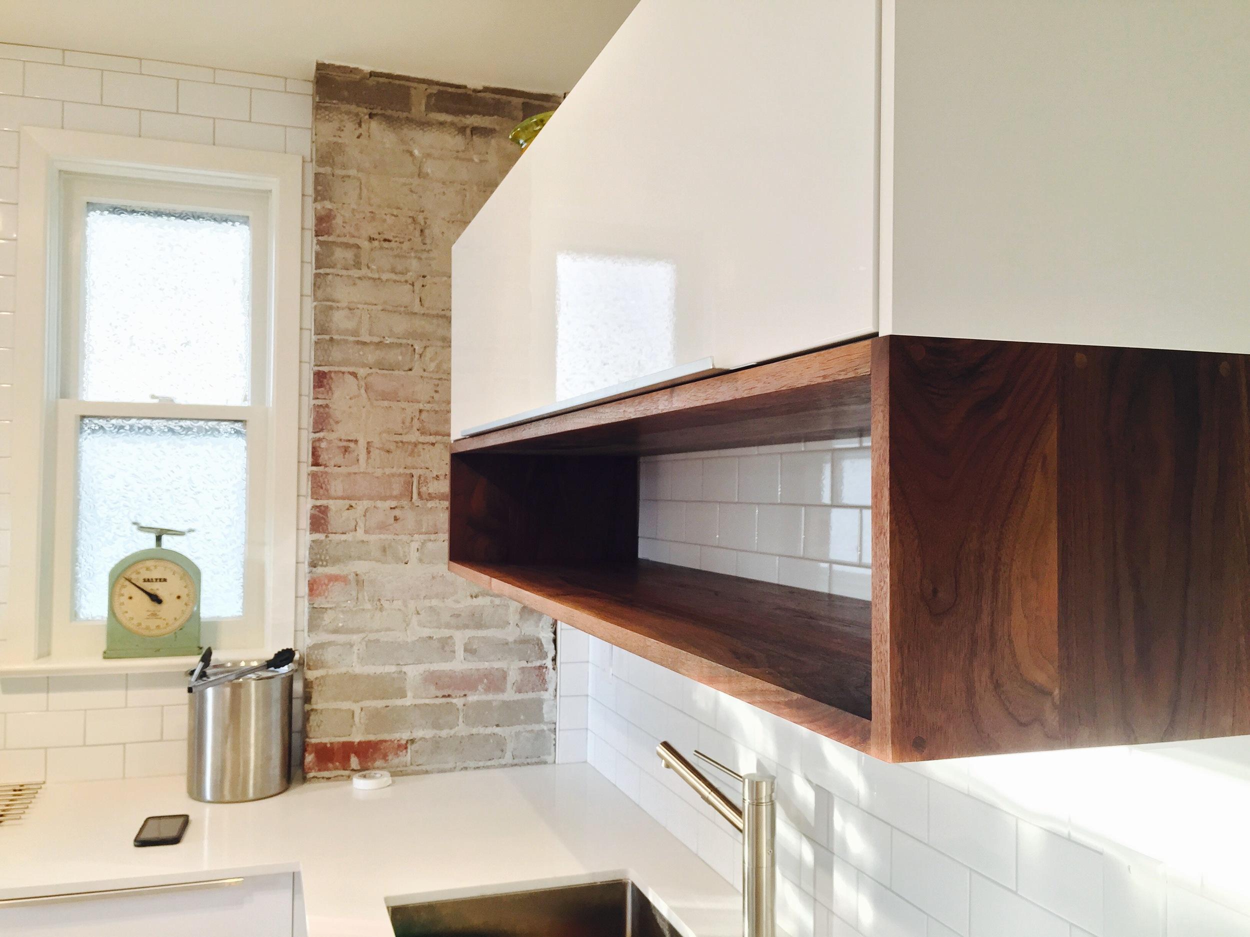 Solid walnut under cabinet box