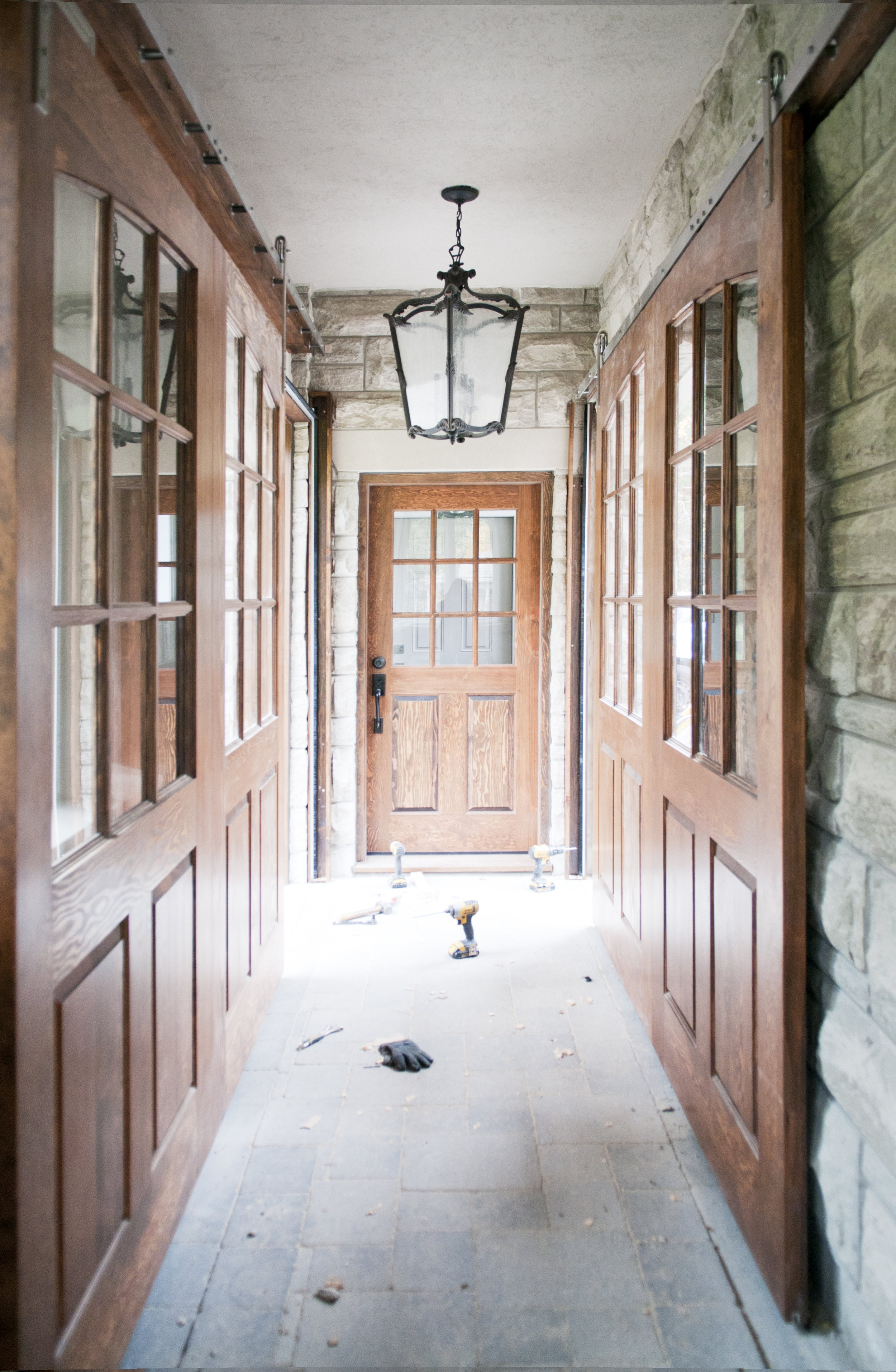 Solid Douglas Fir entry door and sliding doors