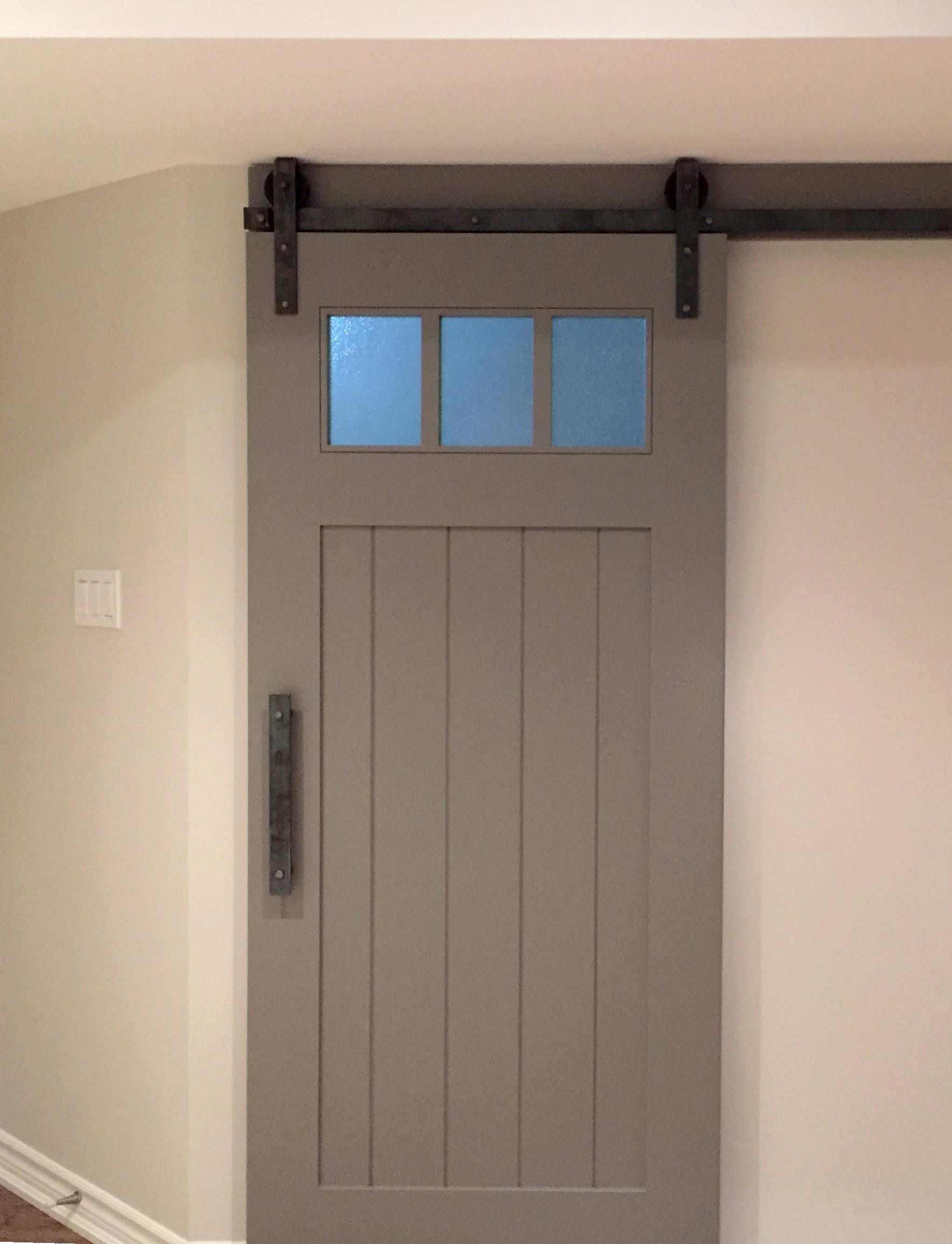 Panel painted door with upper glass