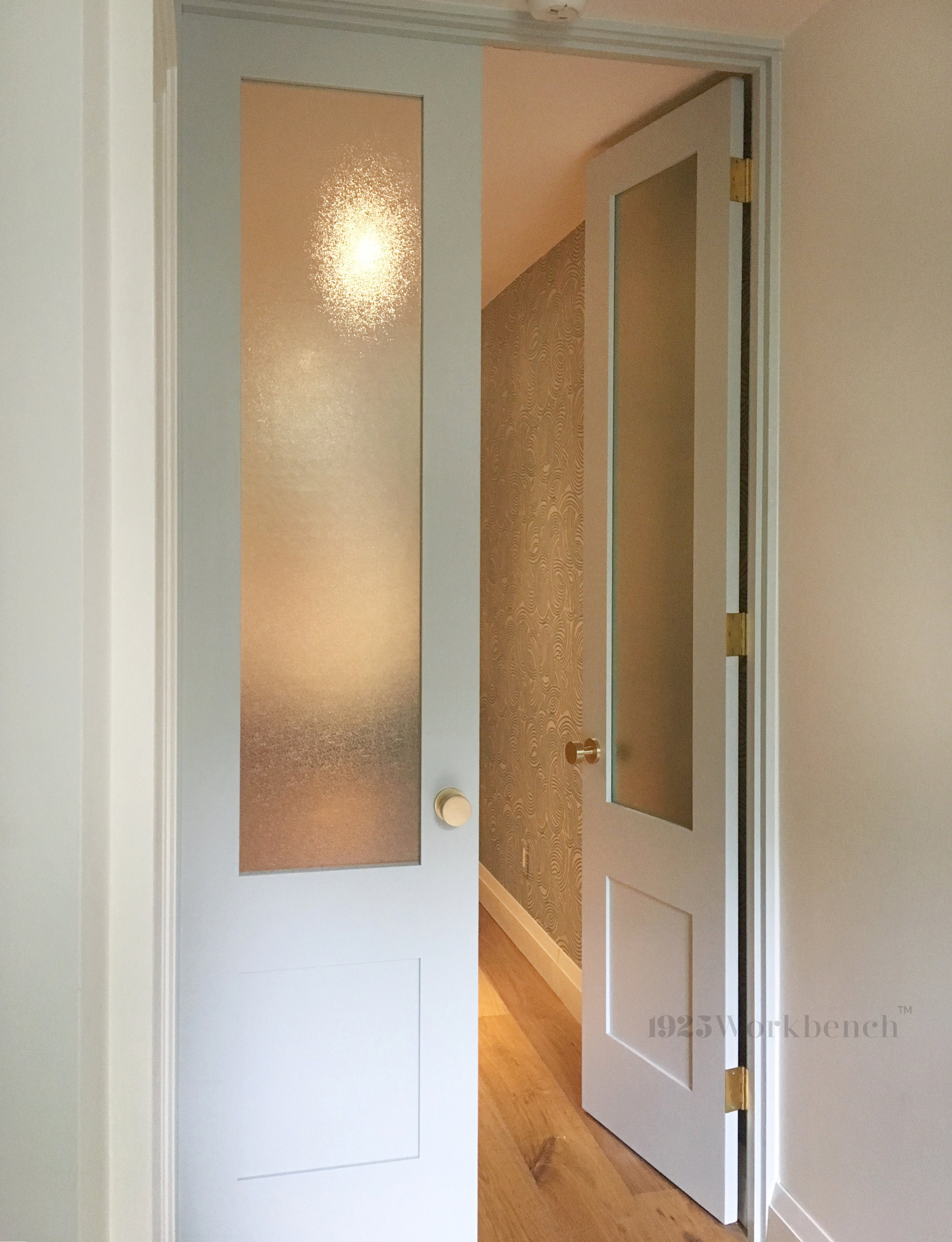 Double panel door with frosted glass