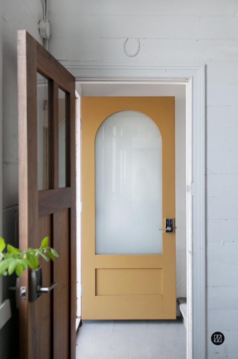 Mahogany half moon painted door