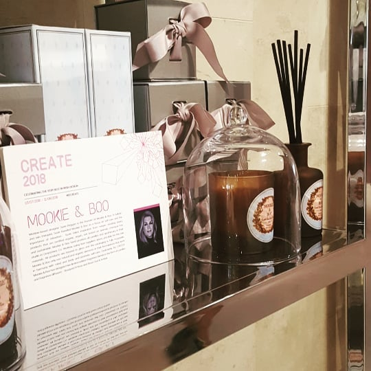Come say Hi ...In store today until 4pm 💖  #mookieandboo  #brownthomas #create #luxurygift #weddinggift #scentyourwedding #candles  #fragrancediffuser  #exclusive  #bouquetdirose  #whiteroseamberandoud #handcrafted #wicklow  #ireland