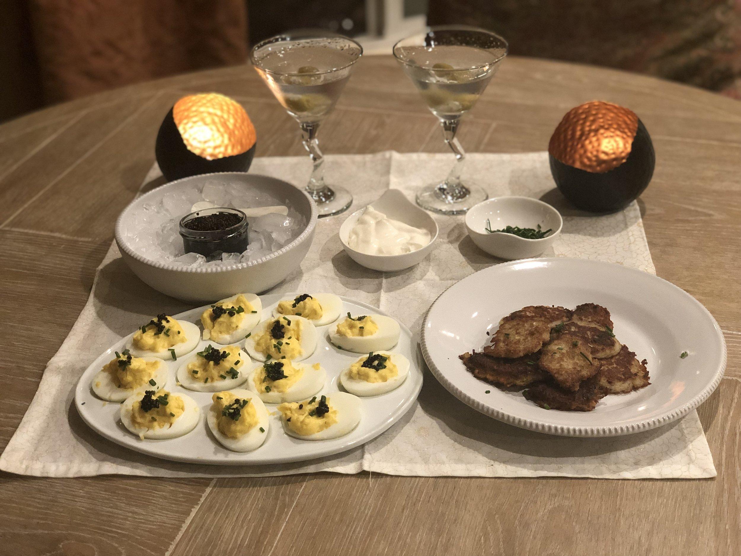 Caviar Deviled Eggs & Latkes - Recipe Coming Soon!