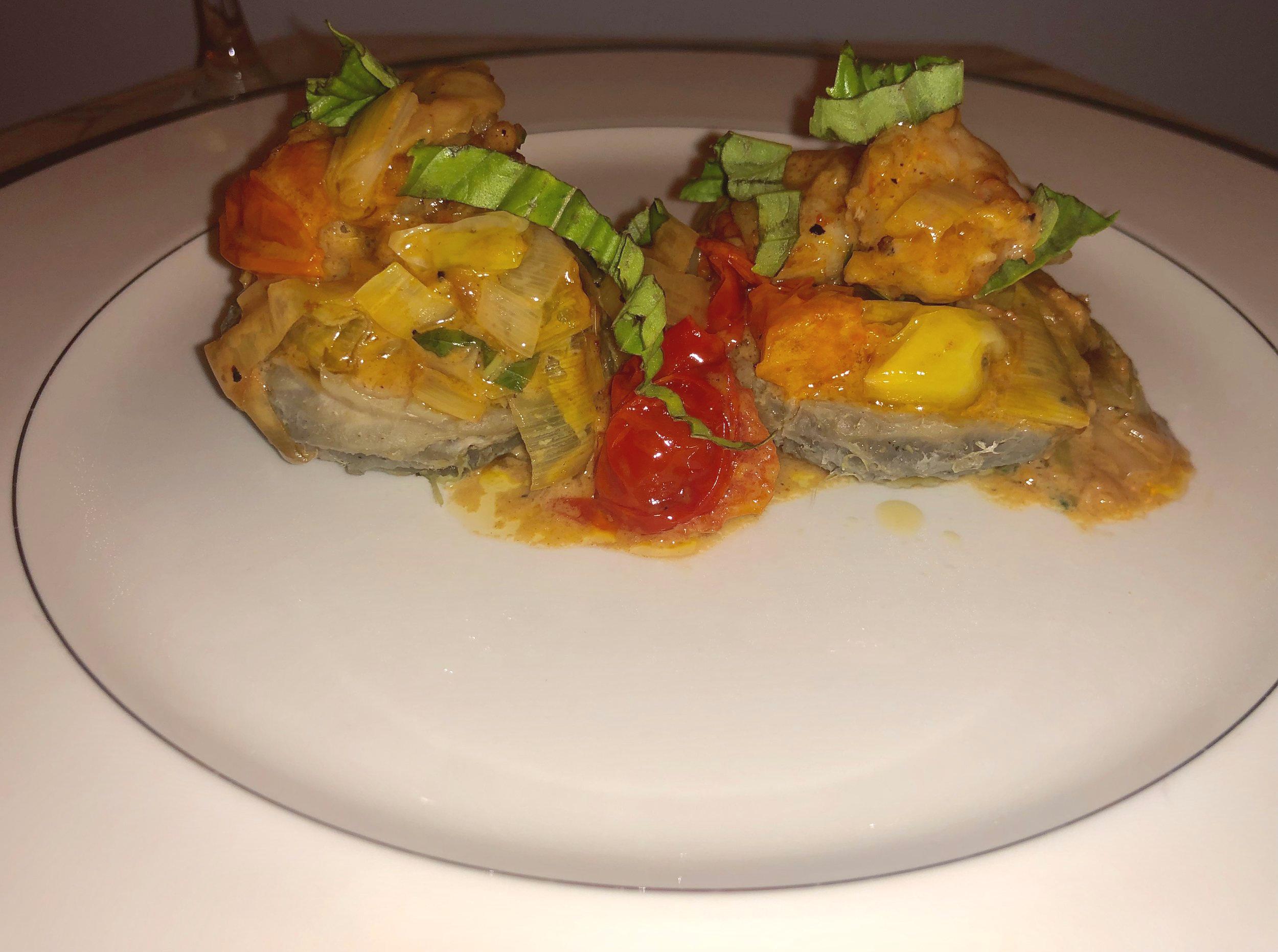 Blistered Tomatoes & Leek Creamy Shrimp Over Buttery Artichoke Bottoms - Simple Recipe, Impressive Presentation
