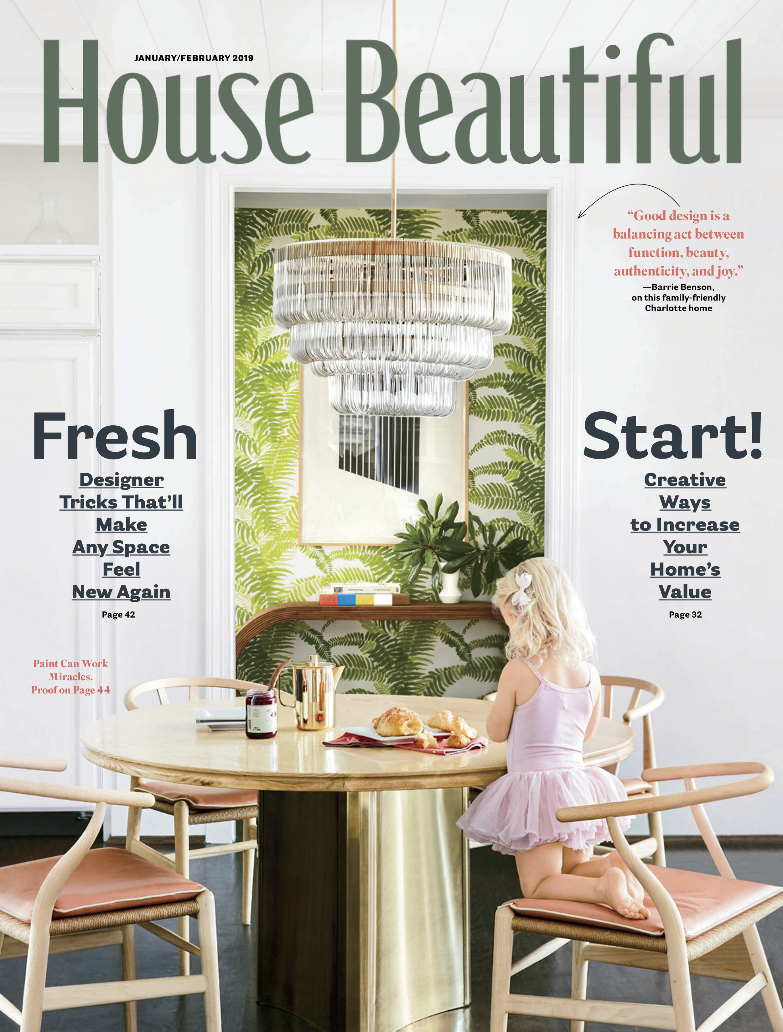 House Beautiful January/February 2019 cover featuring Meg Braff Designs Wallpaper