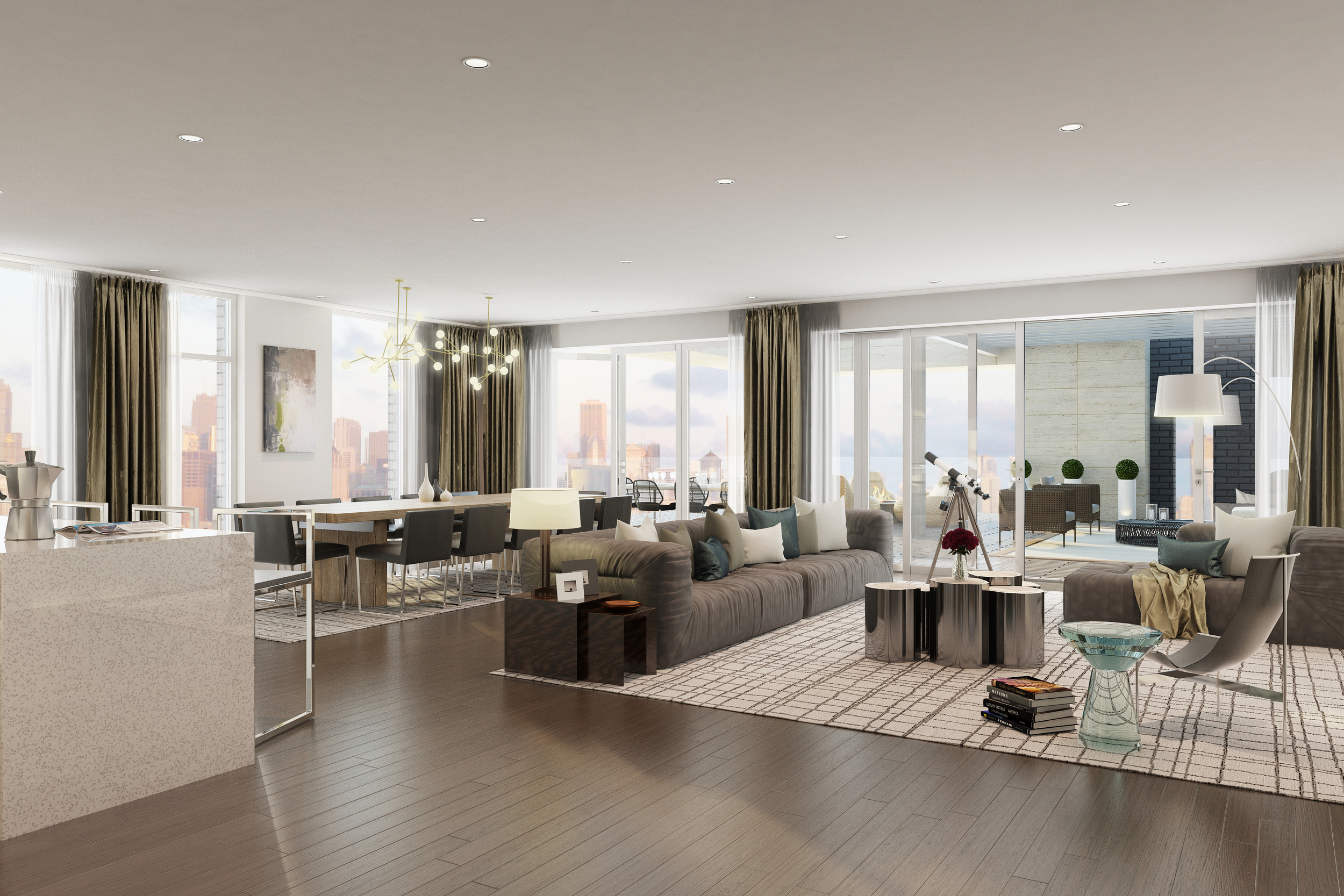 Rendering - Penthouse - Living - 1615 Burling.jpg