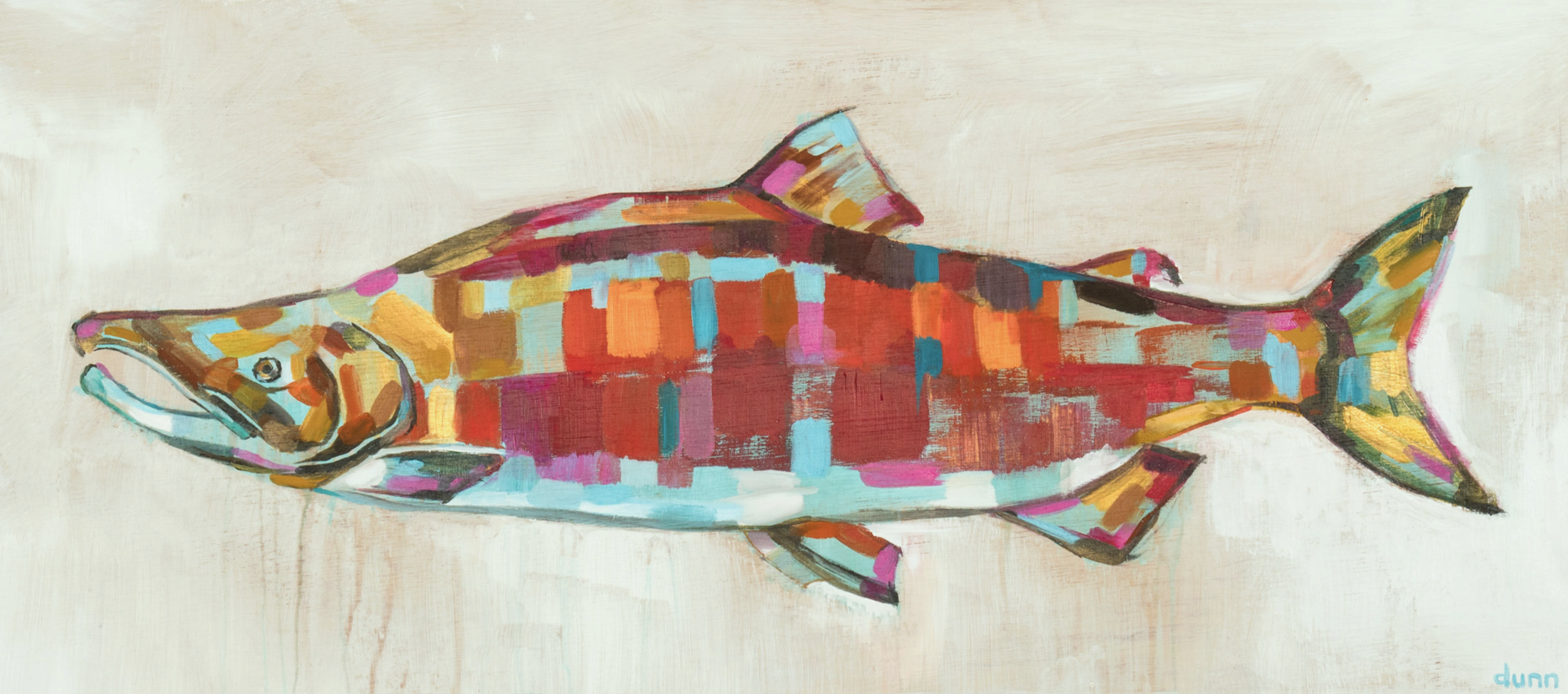 SOCKEYE SALMON, oil on board, 16 x 36 inches -prints available below