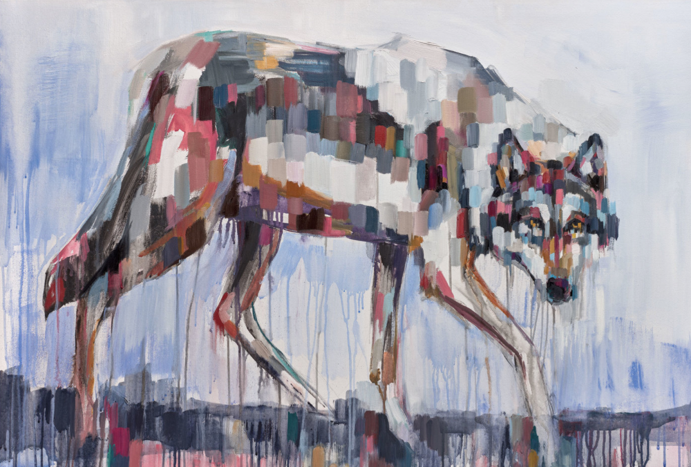 GRAY WOLF, oil on canvas, 24 x 36 inches -prints available below