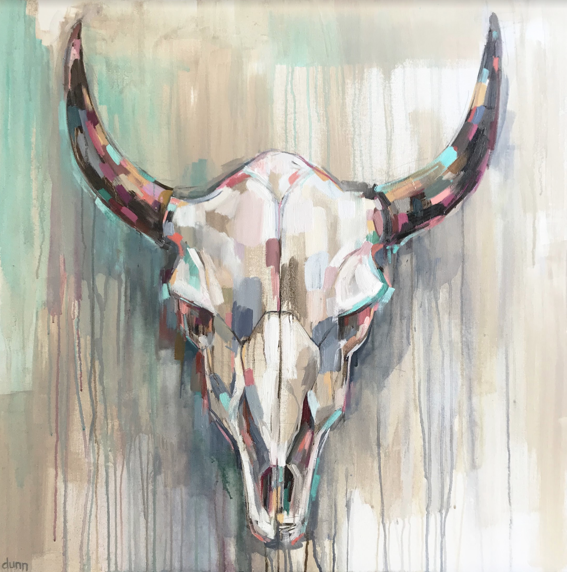 BISON SKULL, oil on canvas, 36 x 36 inches -prints available below