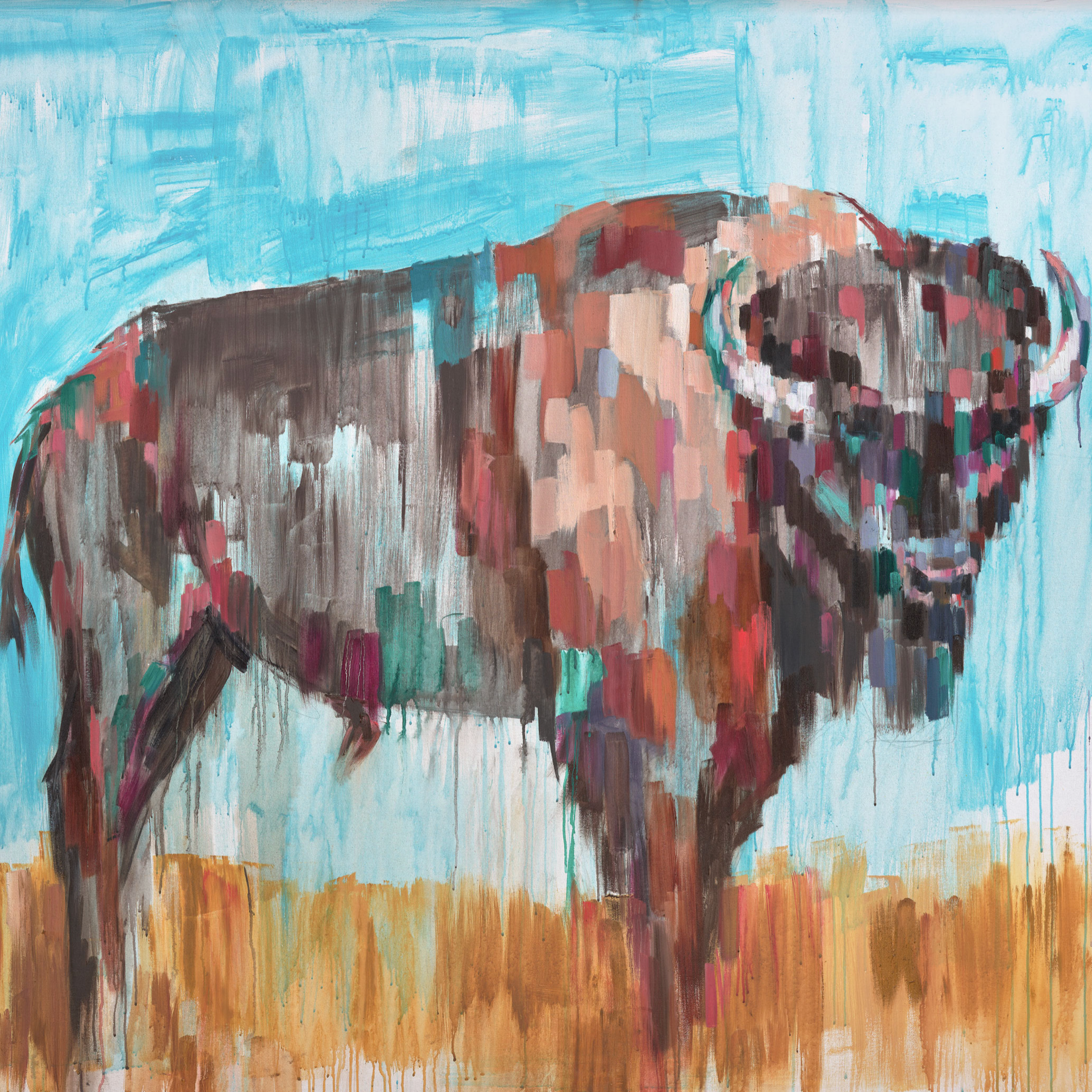AMERICAN BISON, oil on canvas, 48 x 60 inches -prints available below