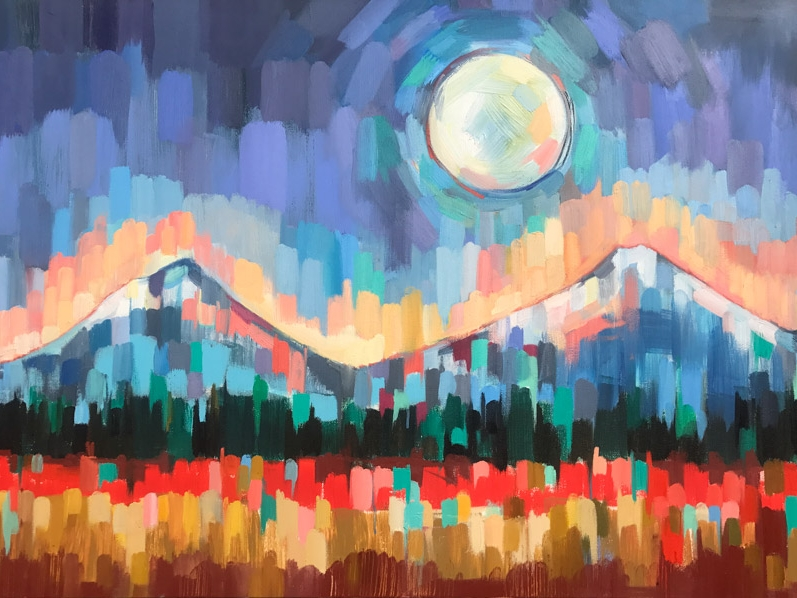 CASCADE MOON, oil on canvas, 24 x 36 inches -10% of print sales to the Conservation Alliance
