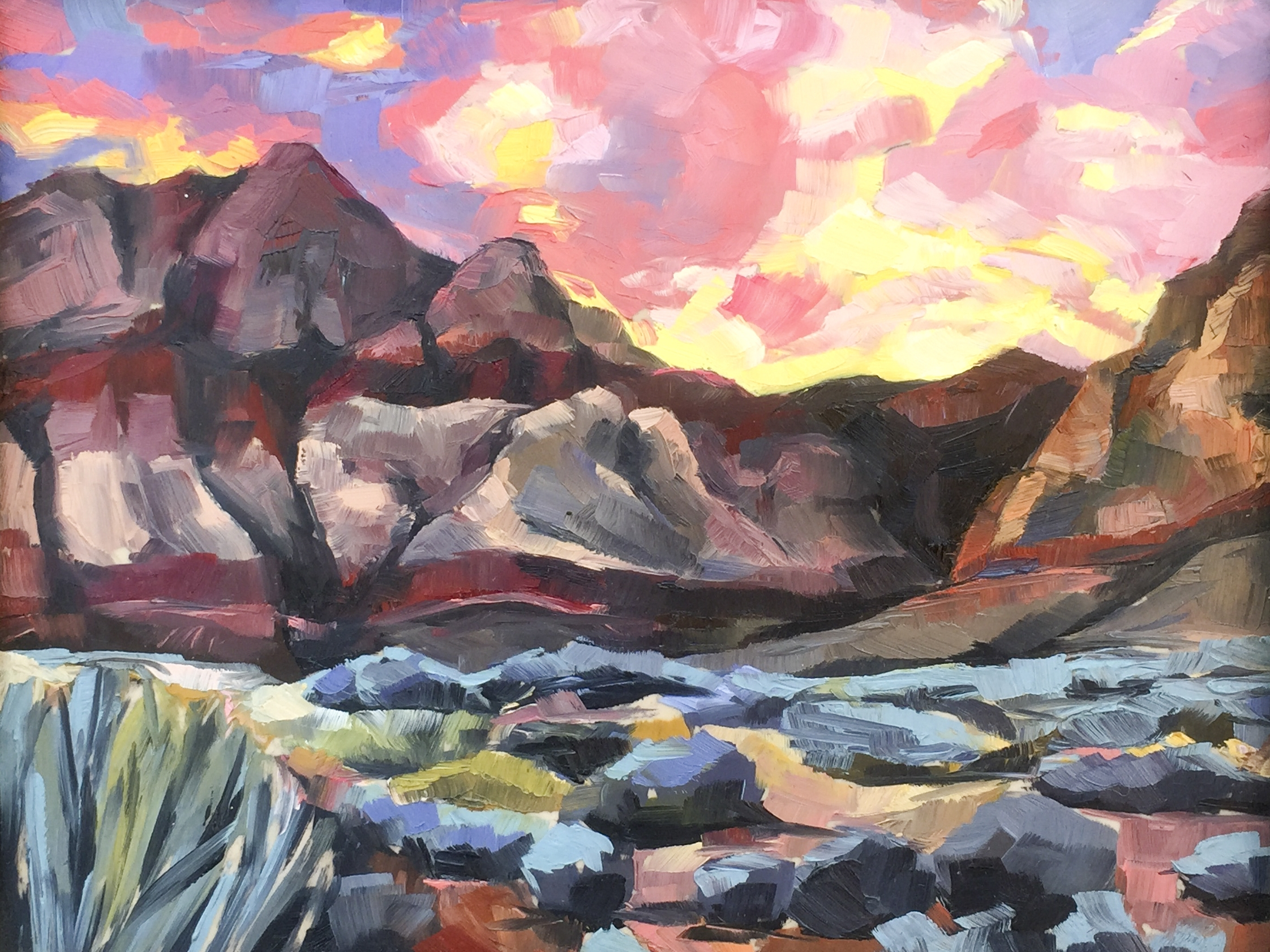 RED ROCKS, oil on board, 11 x 14 inches -10% of sales to the Conservation Alliance